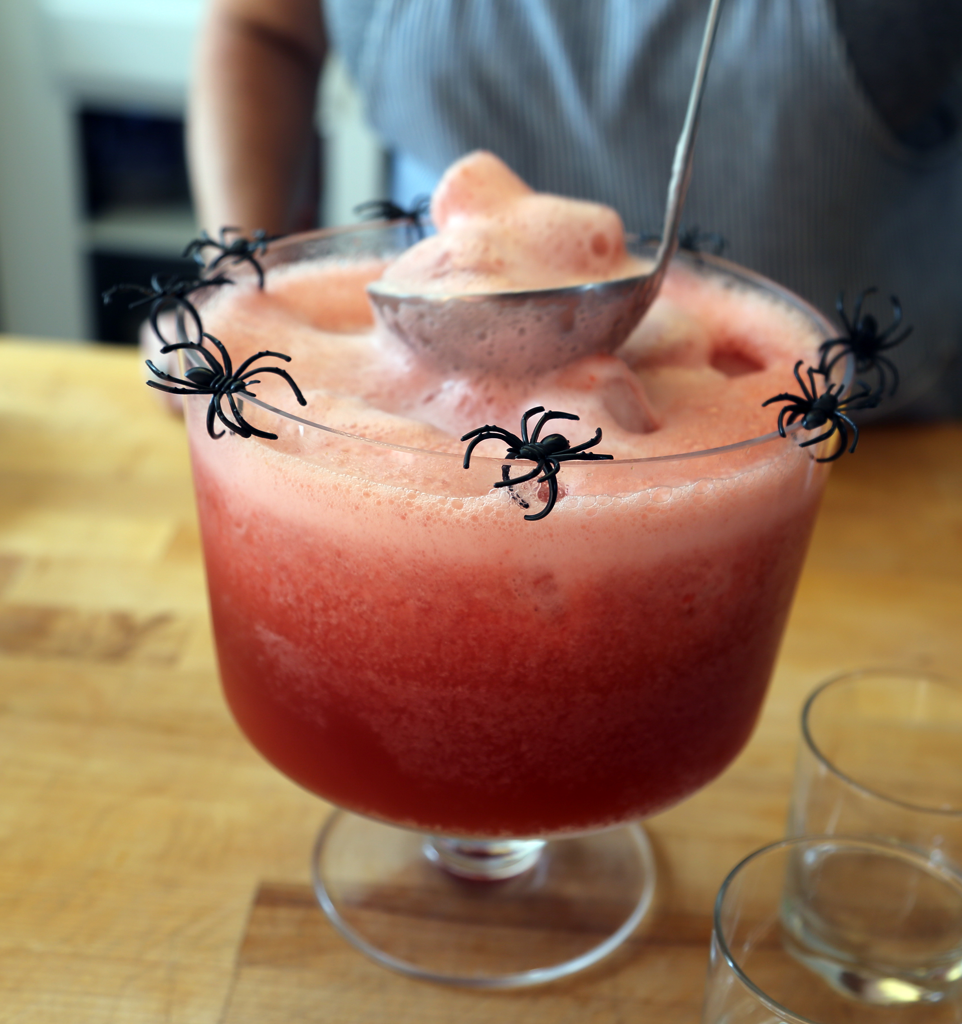 Add the ice cubes and garnish the bowl with terrifying creatures of the night.