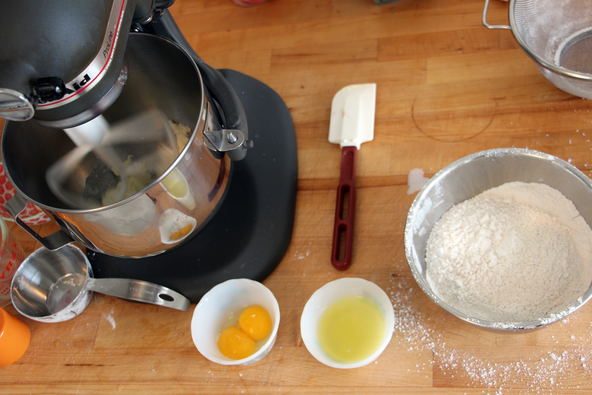 Prepare the dough in the bowl of a stand mixer fitted with the paddle attachment.