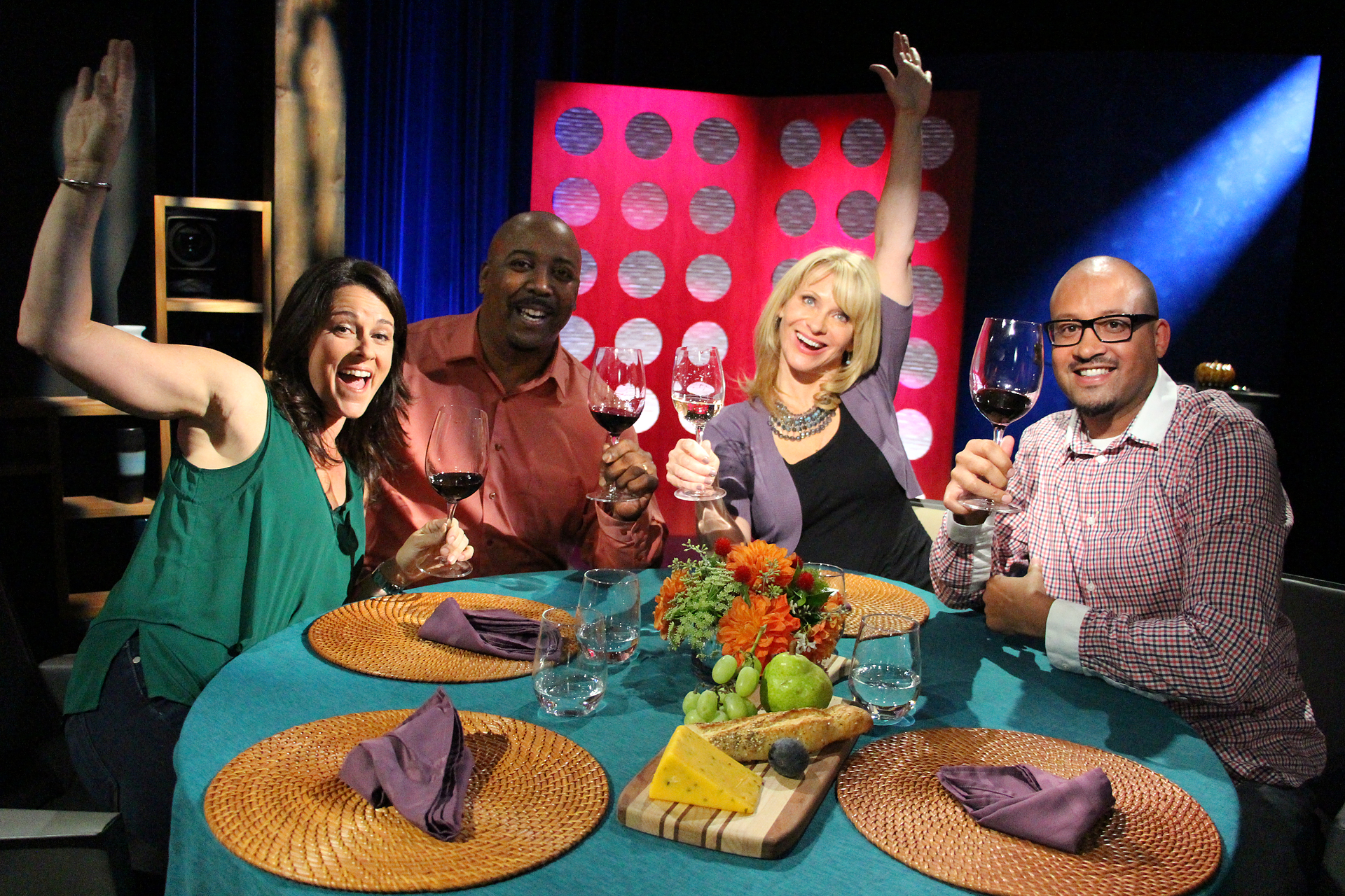 Host Leslie Sbrocco and guests having fun on the set of Check, Please! Bay Area Season 10 episode 7.