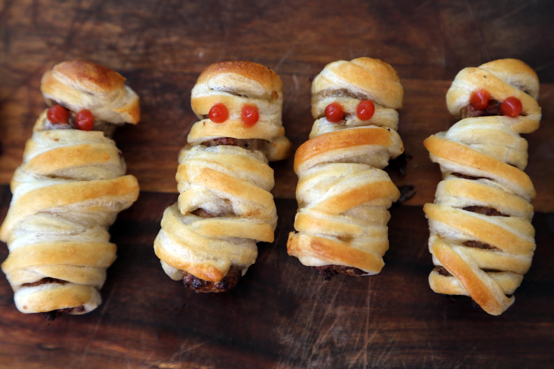 Halloween Mummy Sausage Rolls