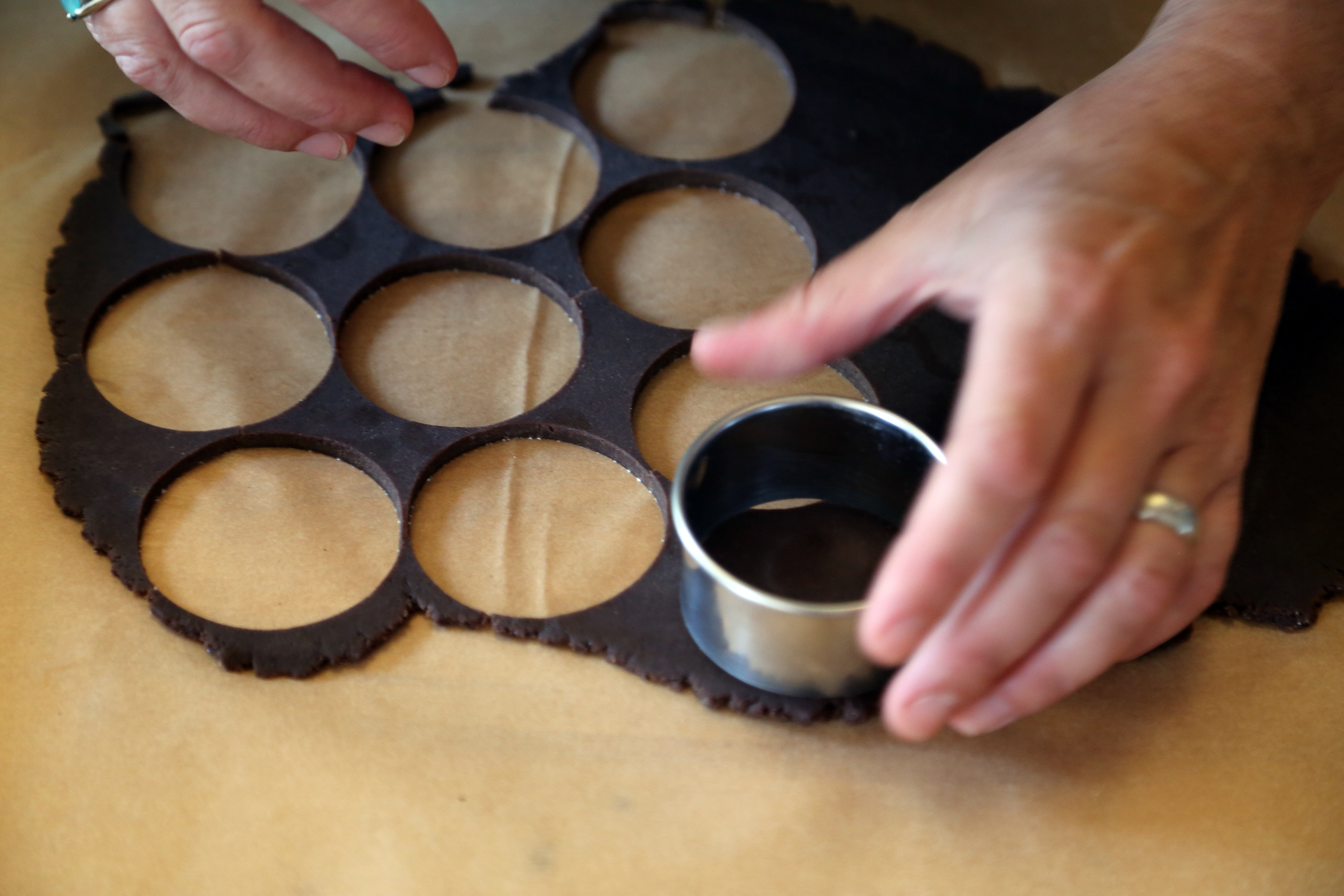 Using a round 2 1/4-inch cookie cutter, cut out as many rounds as possible.