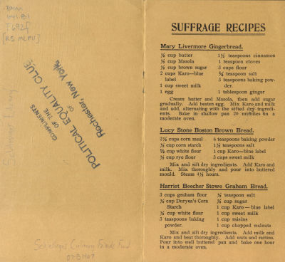 """Recipes from the Woman Suffrage Cook Book, including one for """"Graham Bread"""" attributed to Harriet Beecher Stowe, the author of Uncle Tom's Cabin. Beecher Stowe's sister Isabella Beecher Hooker was a founder of the National Woman Suffrage Association."""