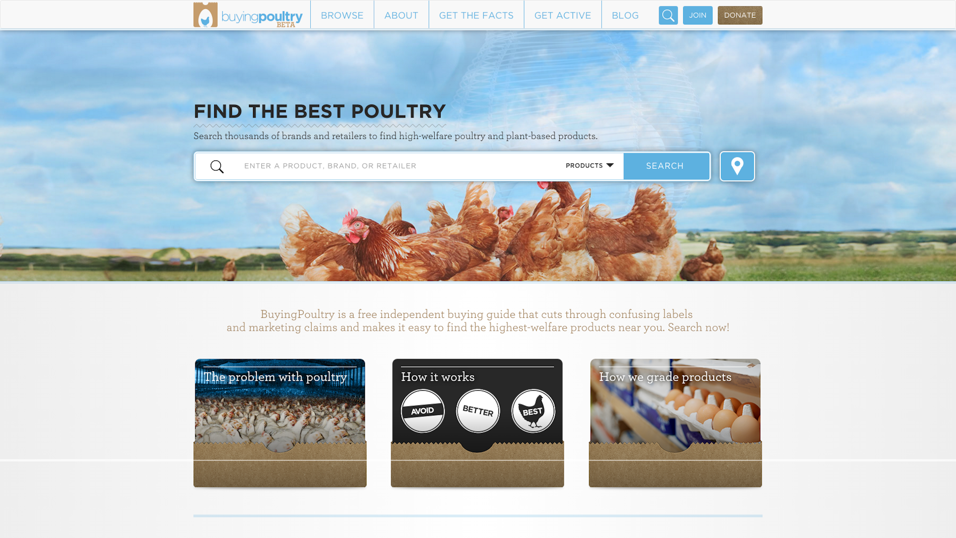BuyingPoultry.com is a new website from Farm Forward, a national nonprofit that promotes conscientious food choices and educates about animal cruelty on traditional factory farms.