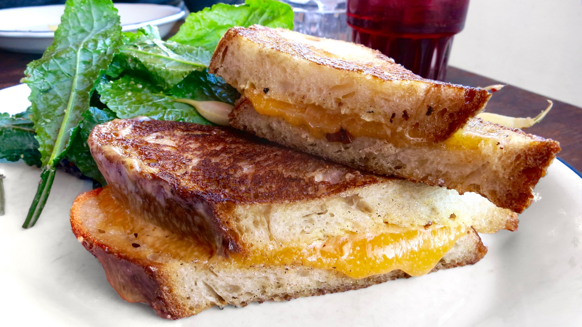 The whole grain mustard pairs well with the sharp cheddar on Grand Lake Kitchen's simple yet satisfying grilled cheese sandwich.