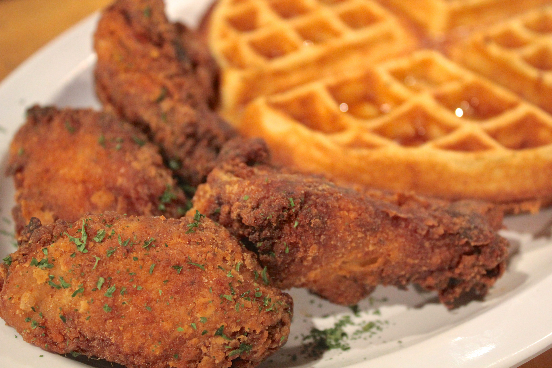 The fried chicken and waffles at Louisiana Bistro.