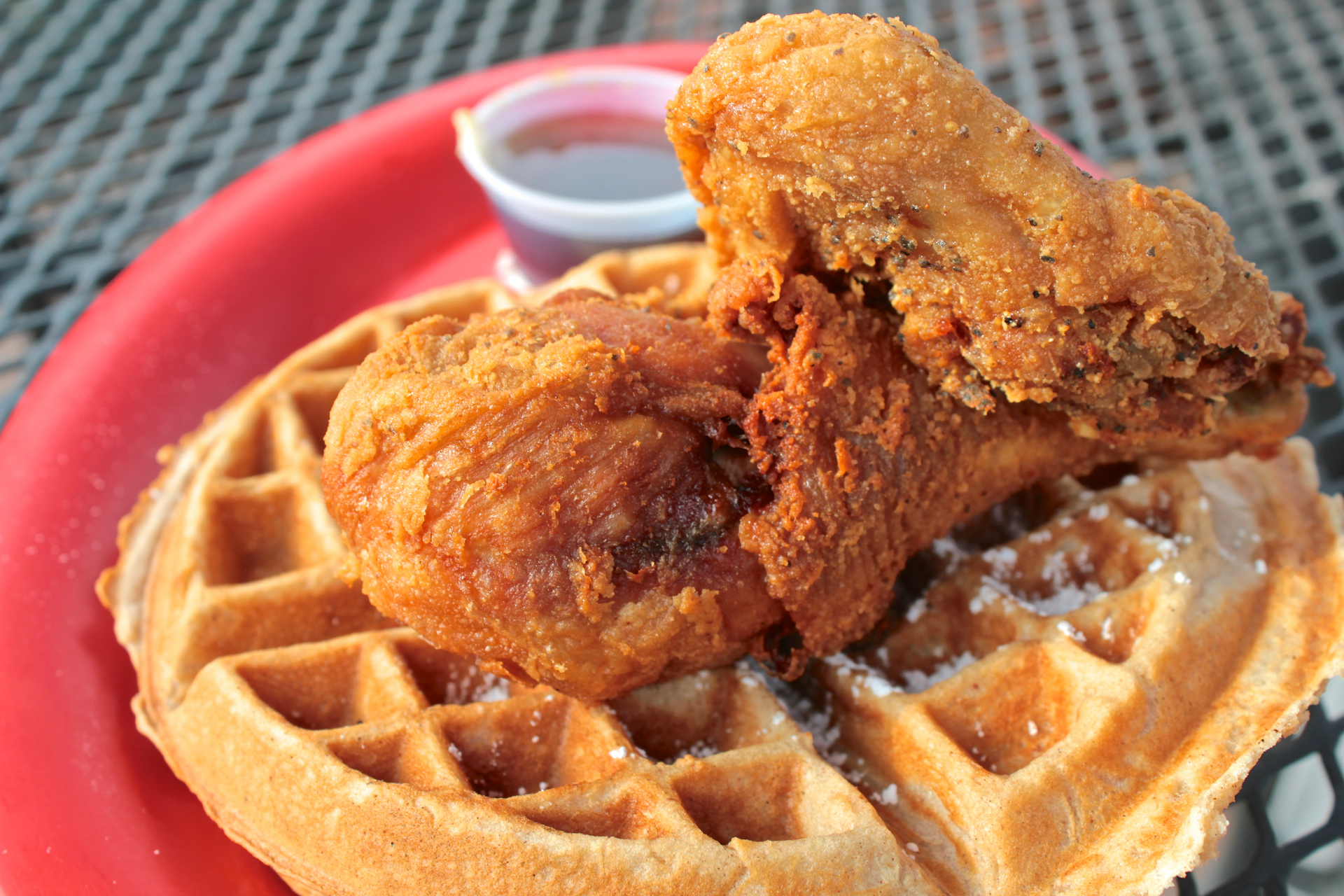 Southern fried chicken and waffles at Lillie Mae's House of Chicken and Wafflez.