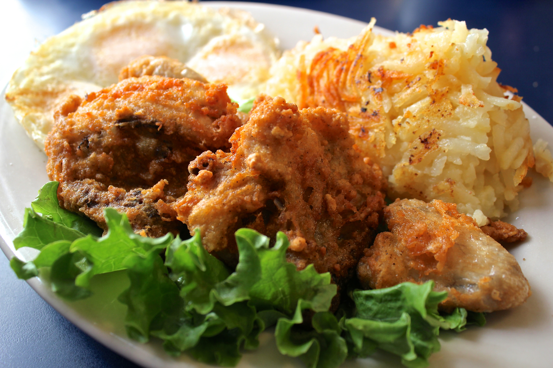Fried chicken and eggs at Southern Kitchen Coffee Shop.