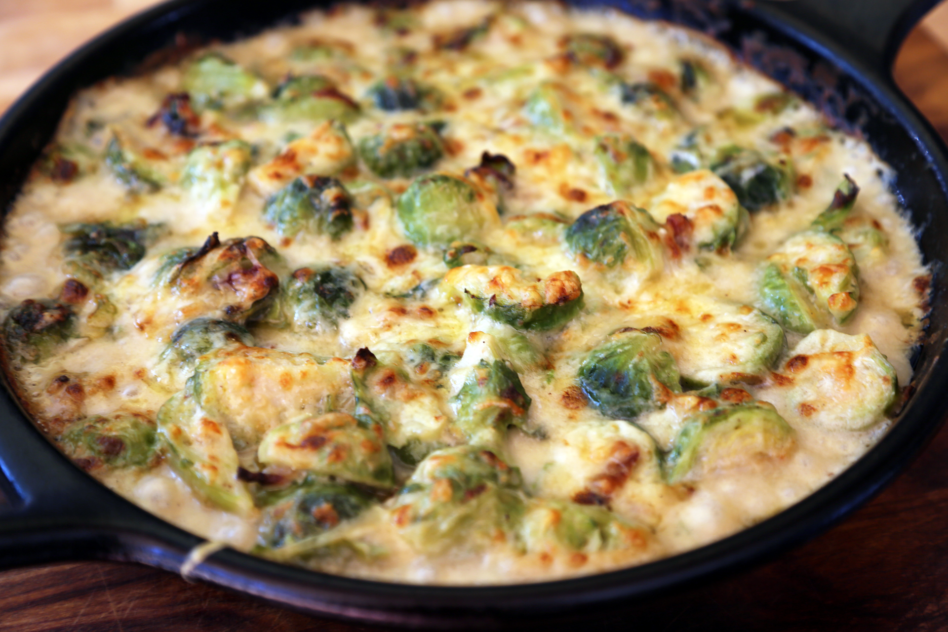 Brussels Sprouts Gratin with Bacon and Gruyere