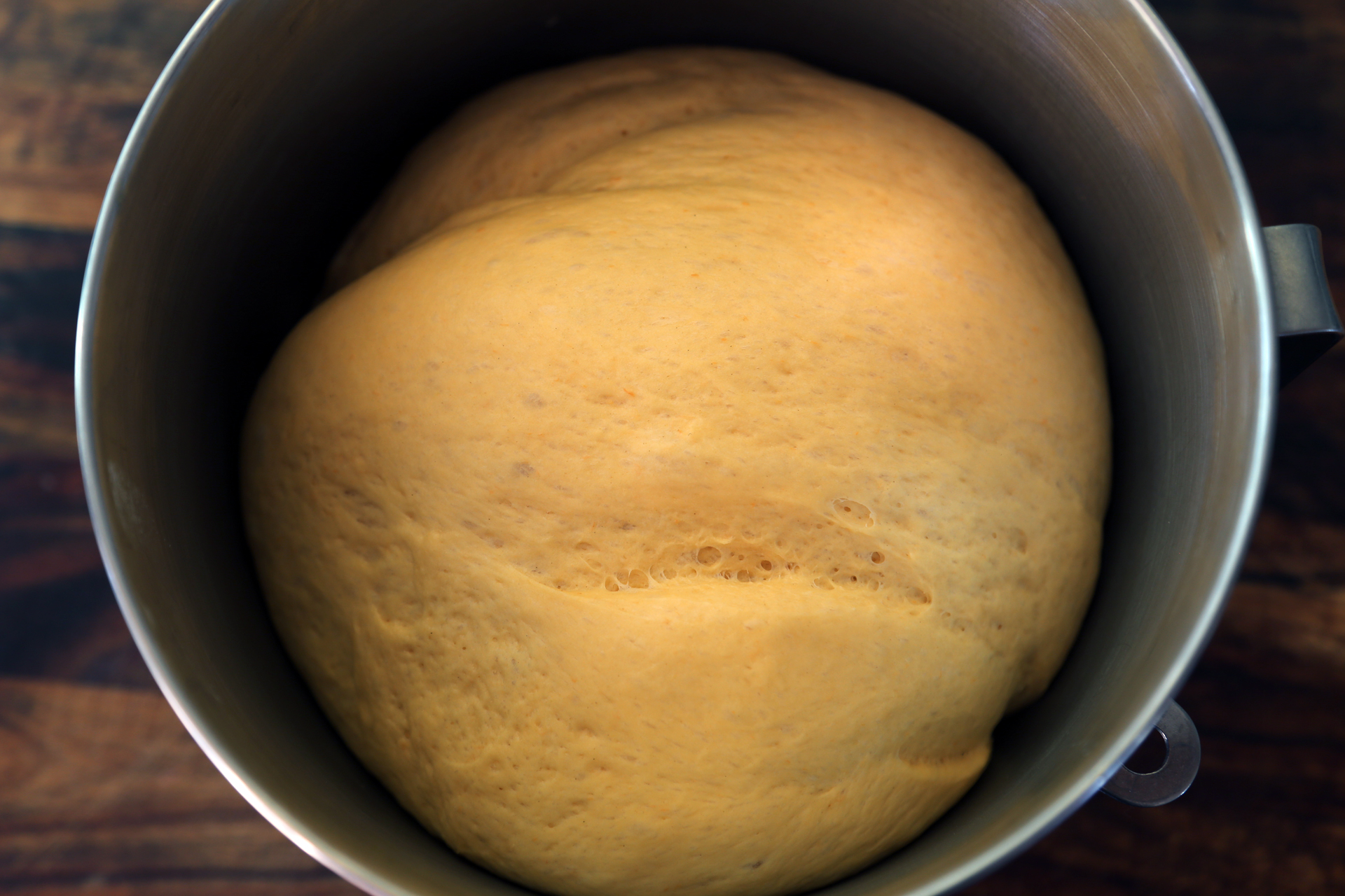 Form the dough into a ball, cover the bowl with plastic wrap, and let rise in a warm, draft-free spot until doubled, about 1 hour.