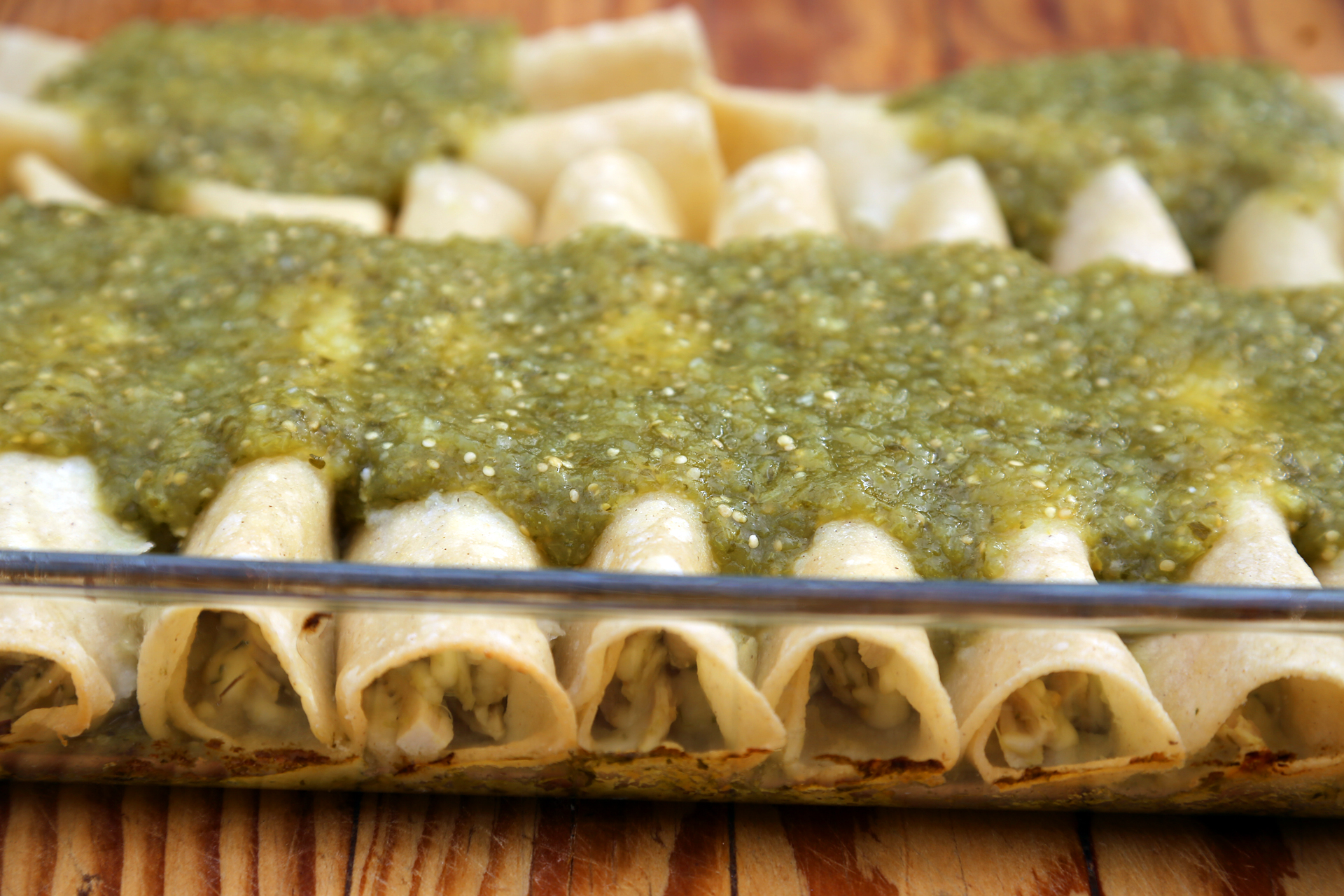 Turkey and Monterey Jack Enchiladas with Green Tomatillo Sauce