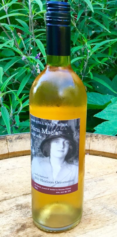 Nana Mae's Wild Side Early Harvest Gravenstein Cider is produced with heirloom Gravenstein apples from Sonoma County.