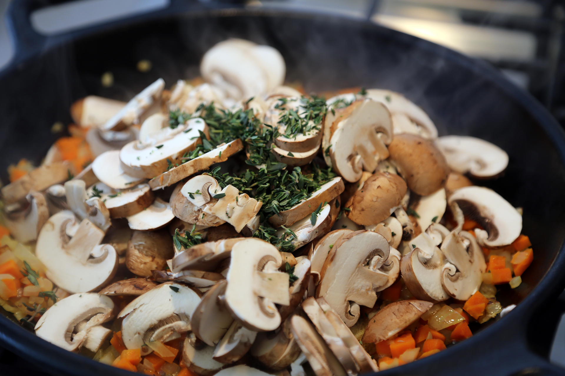 Add another 1 tbsp butter then add the mushrooms and thyme. Cook, stirring, until tender, about 5 minutes.