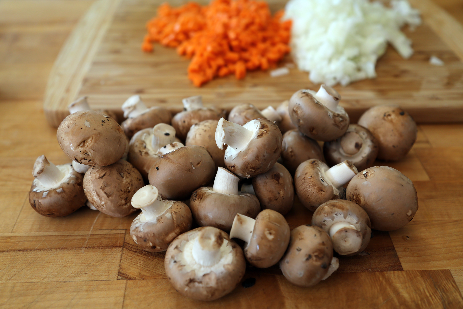 Mushroom and prepped carrots and onions