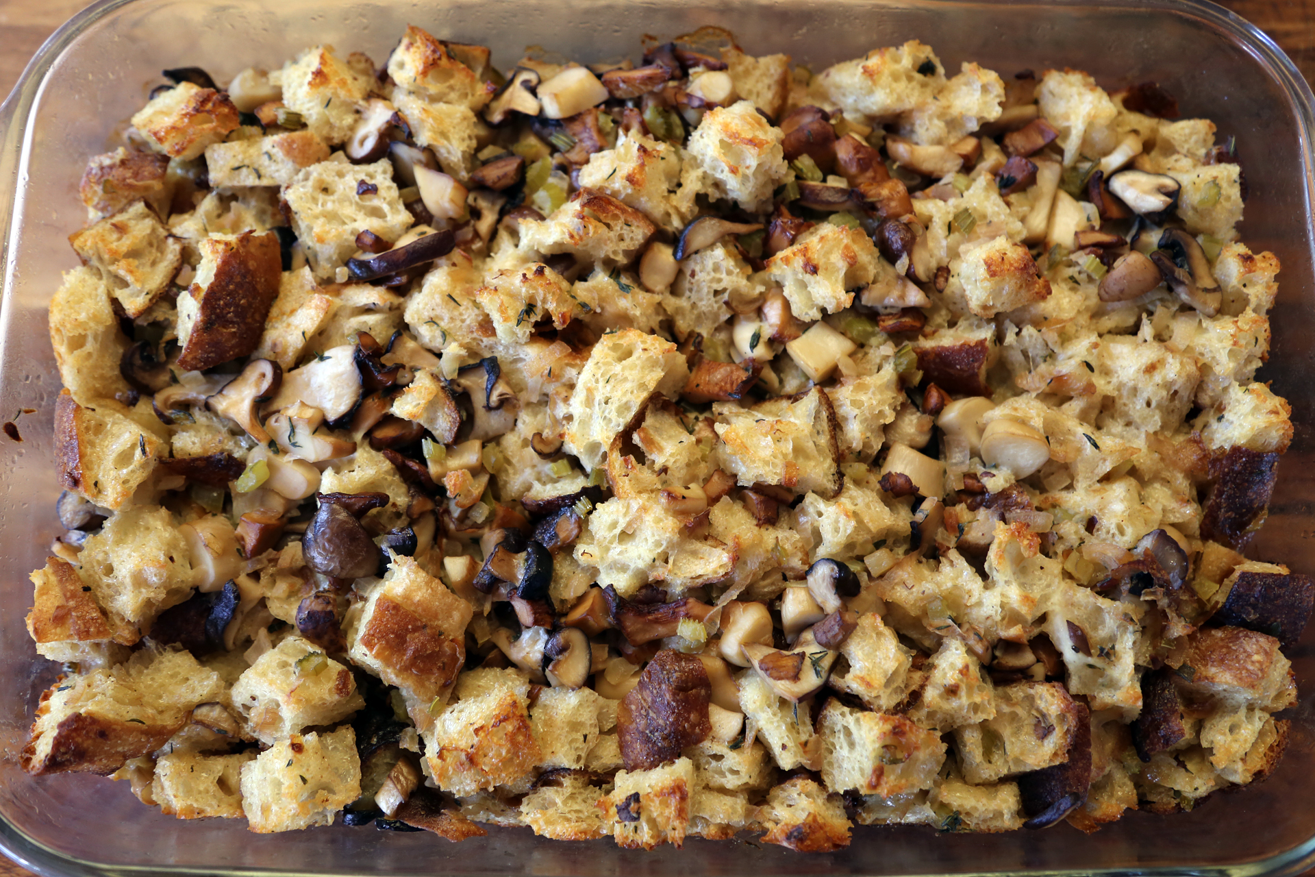 Wild Mushroom, Shallot, and Sourdough Stuffing with Herbs.