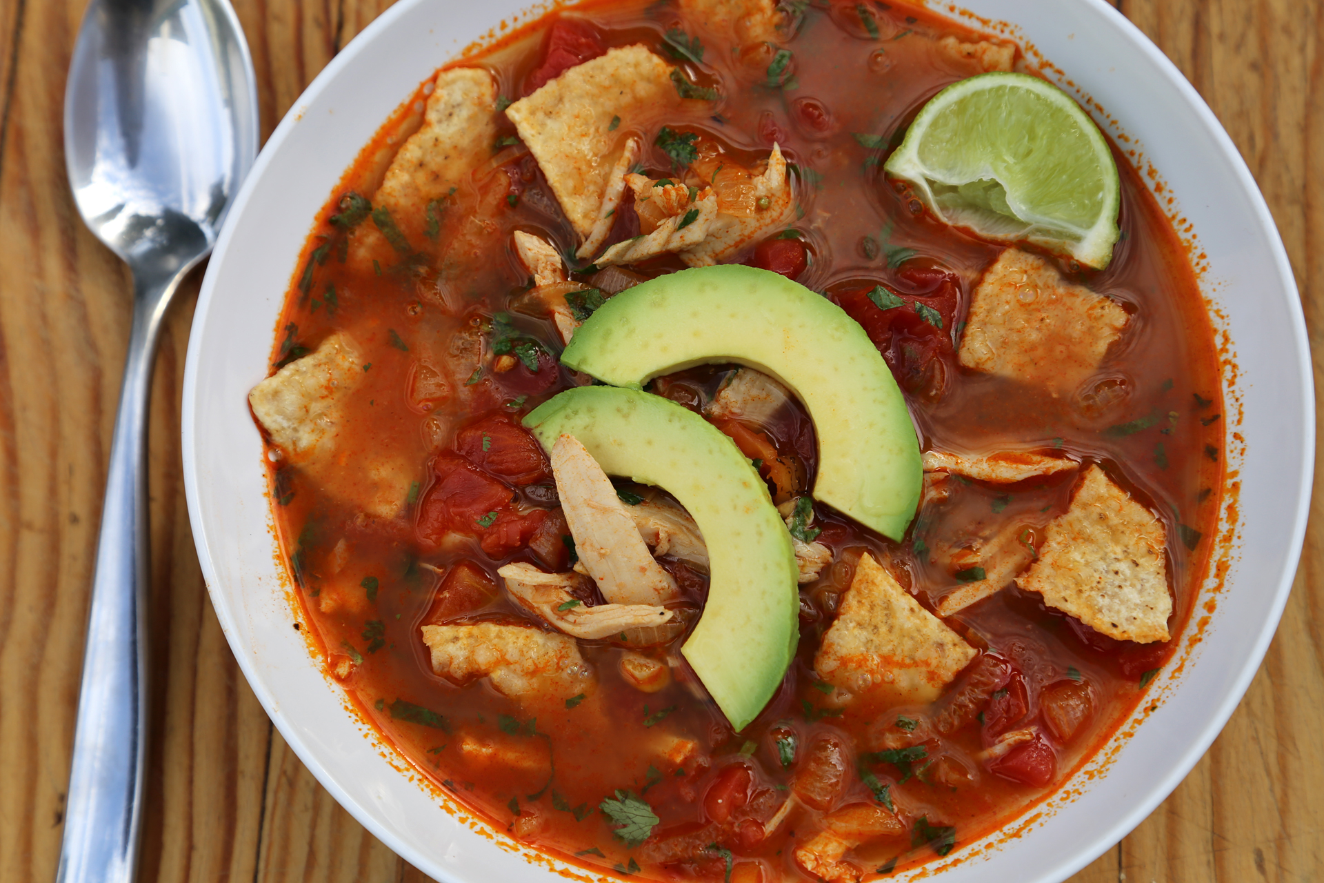 Mexican Turkey Tortilla Soup with Lime and Chile.