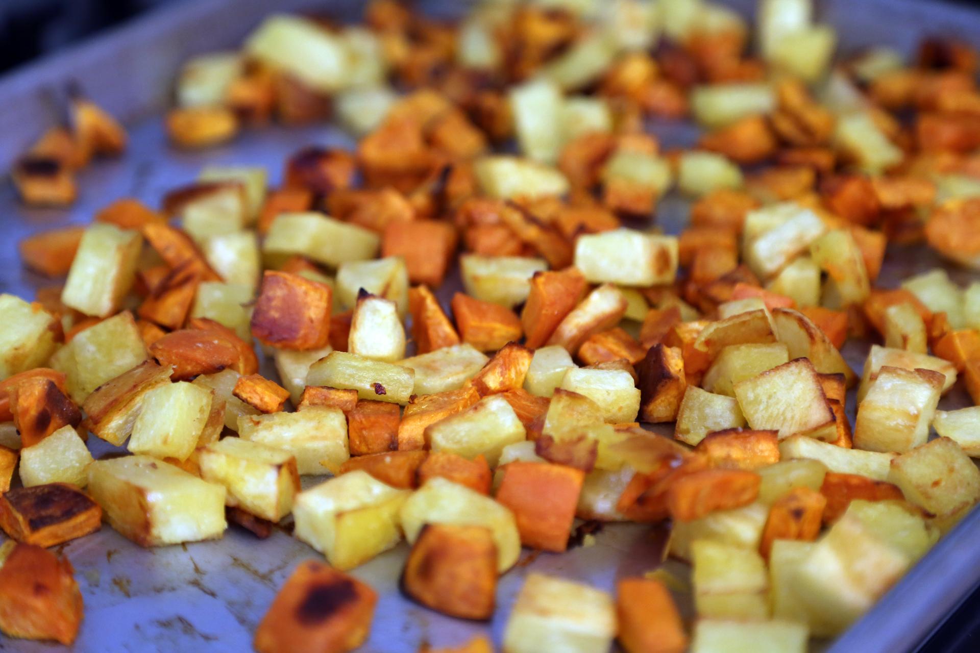 Roast the potatoes until tender and brown.