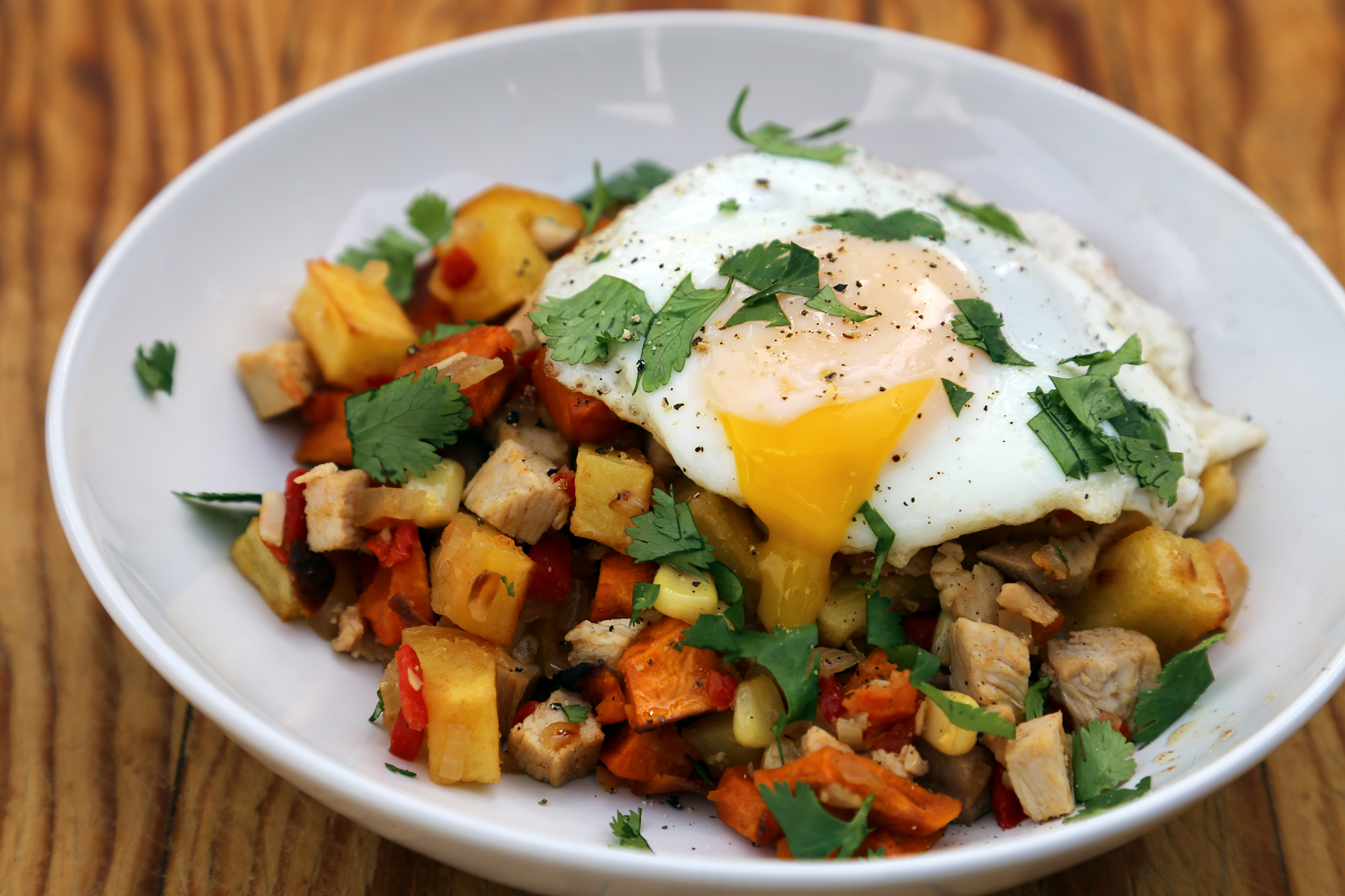 Serve the hash topped with a fried egg.