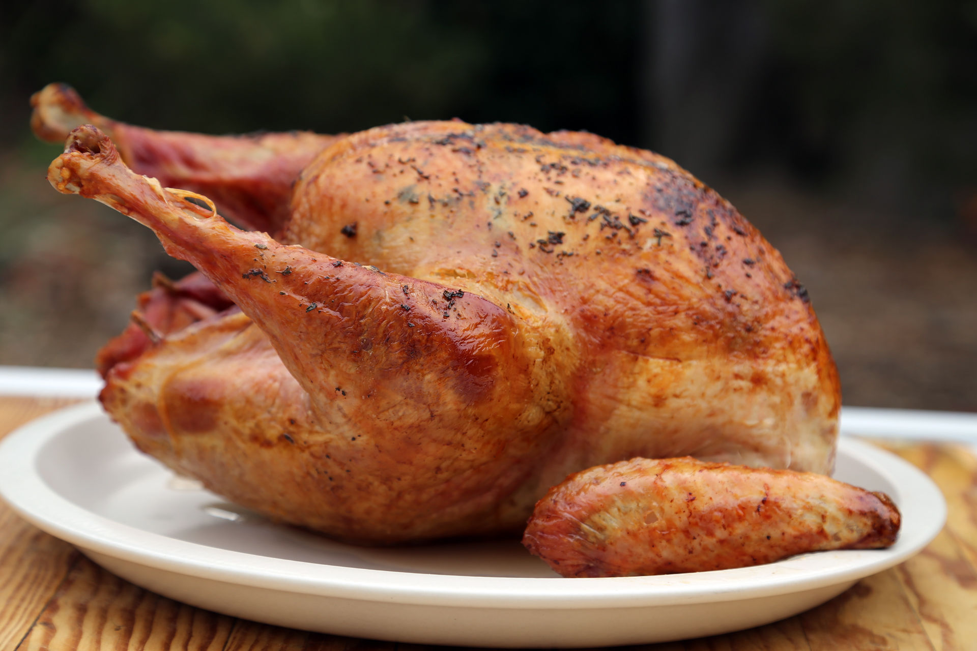 Dry brined, butter-basted turkey