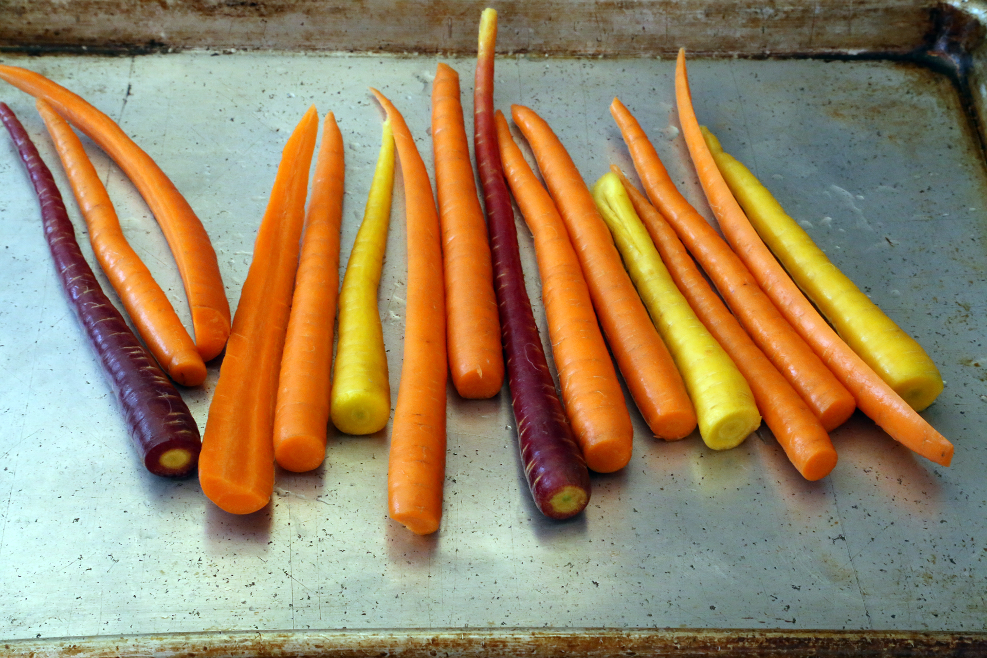 Heirloom carrots in a variety of colors.