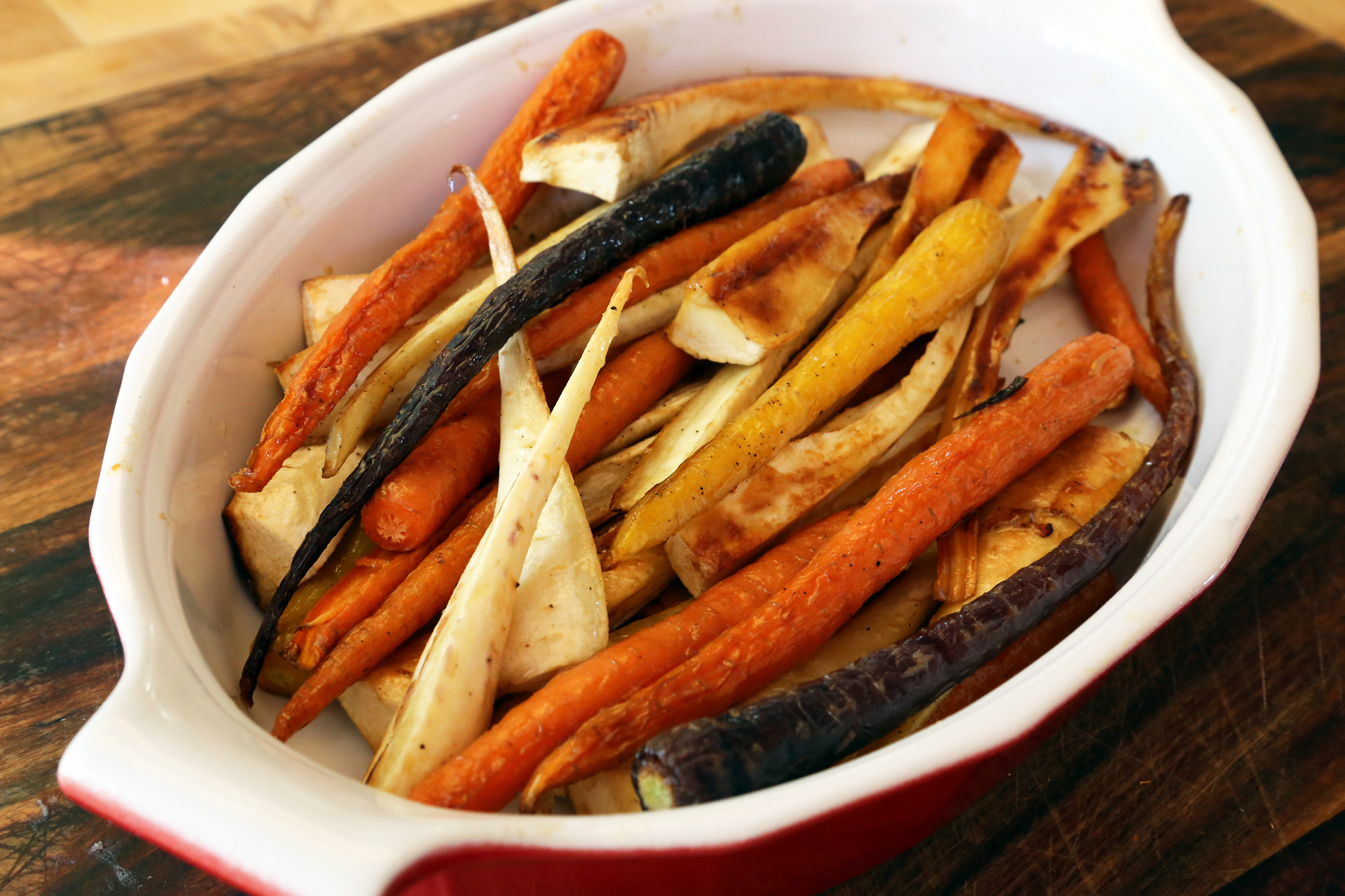 Roast Carrots and Parsnips with Honey and Thyme.