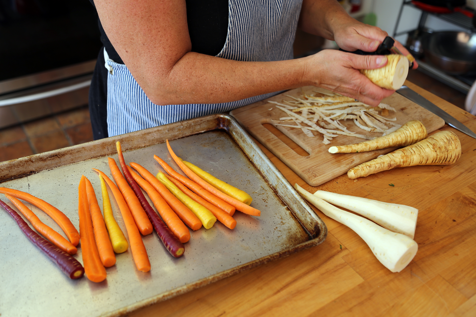 Trim and peel the parsnips.