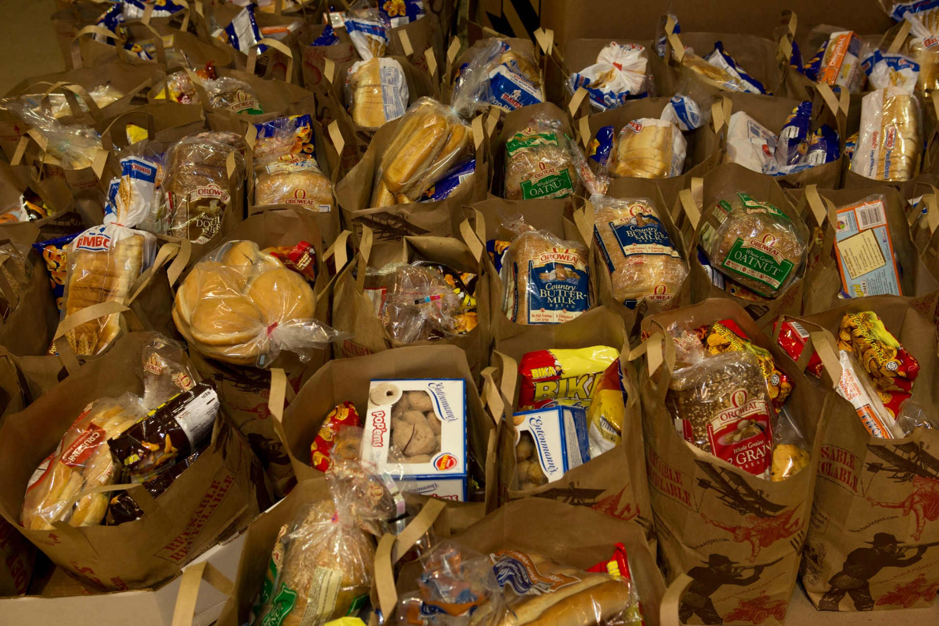 Bags of food for participants from the Food Bank.