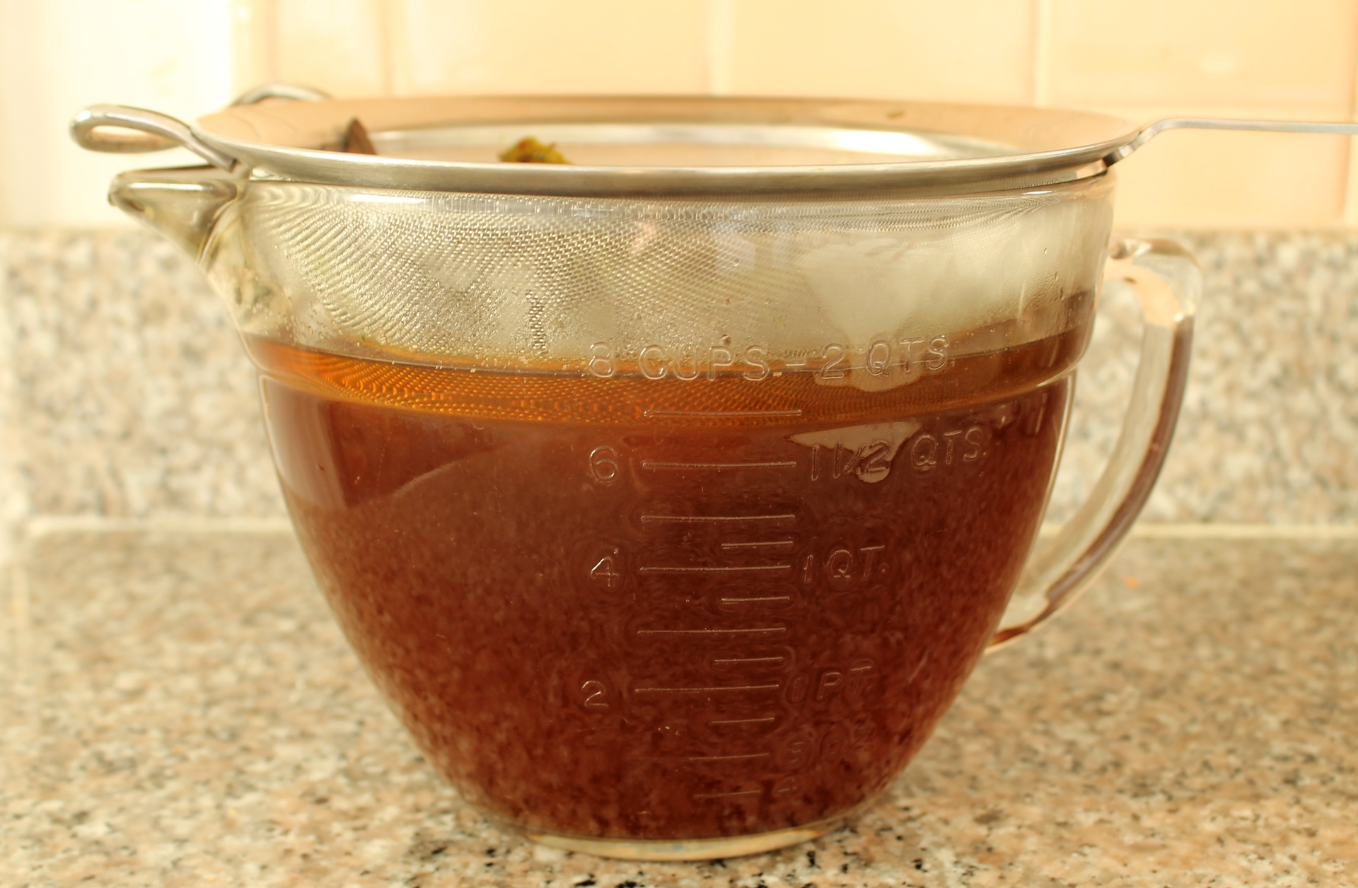 After two hours of steeping, the water is now deeply colored and aromatic.