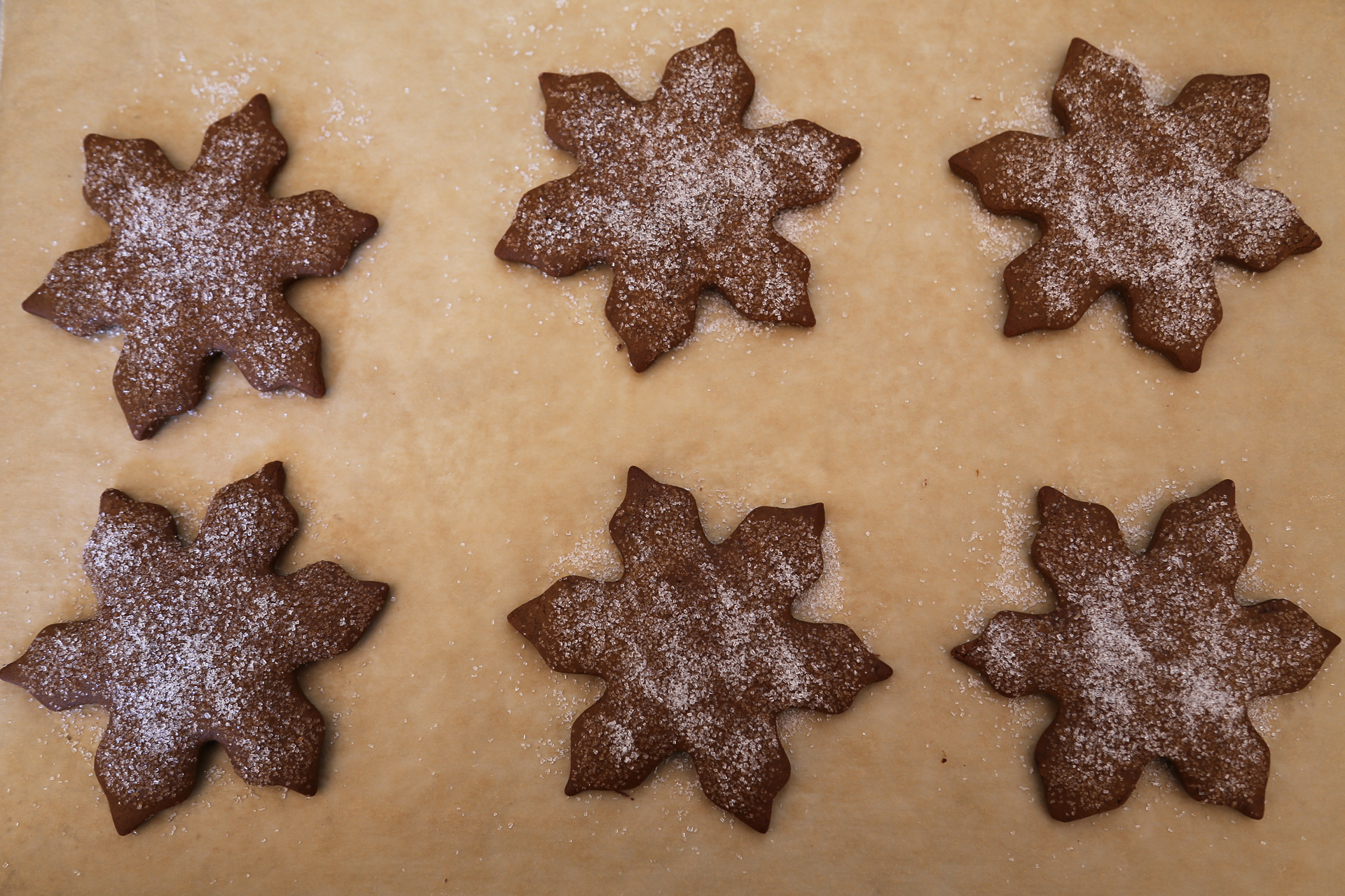 Gingerbread snowflakes with sparkle sugar.