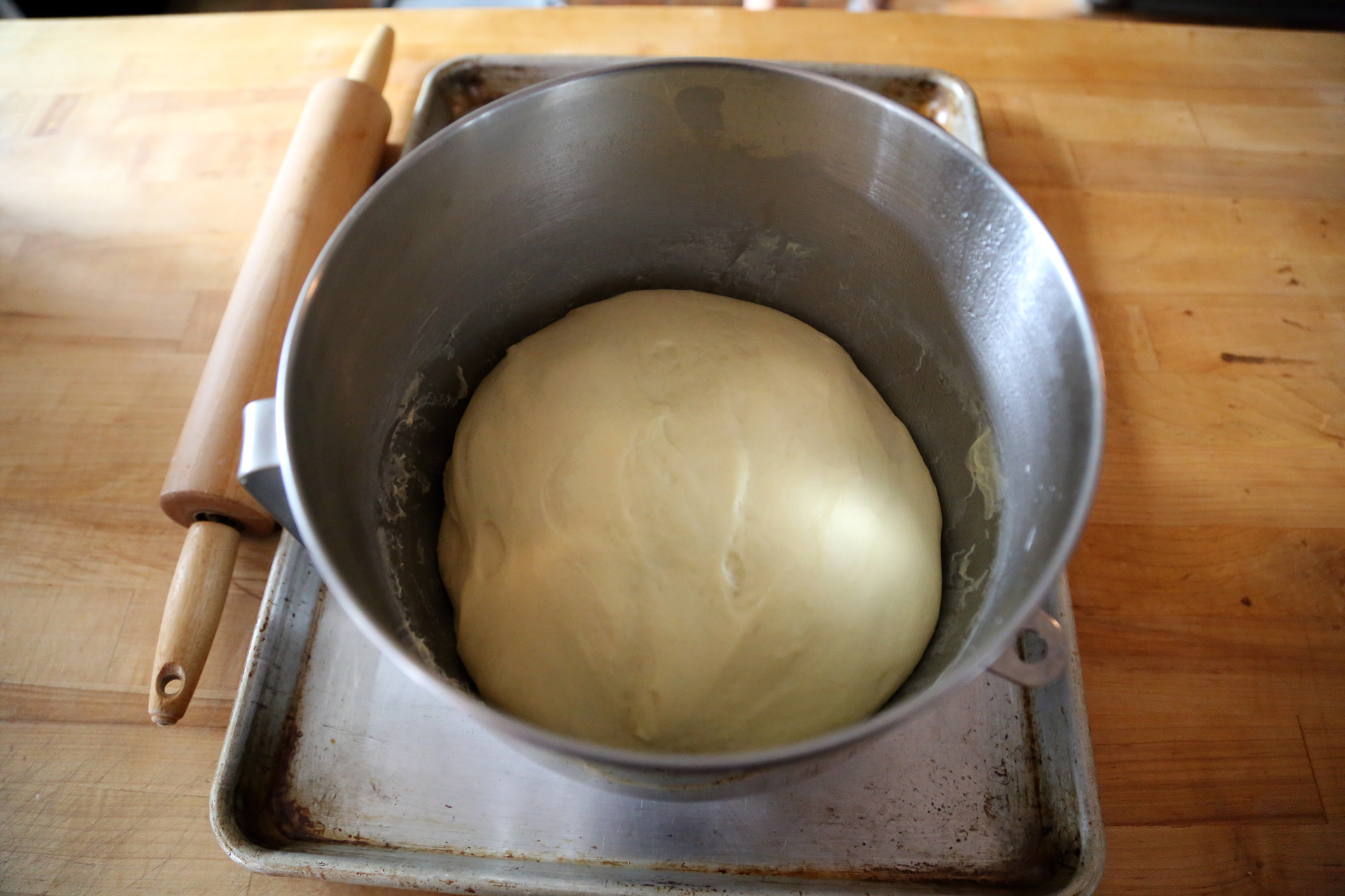 The raised dough is ready to roll out.