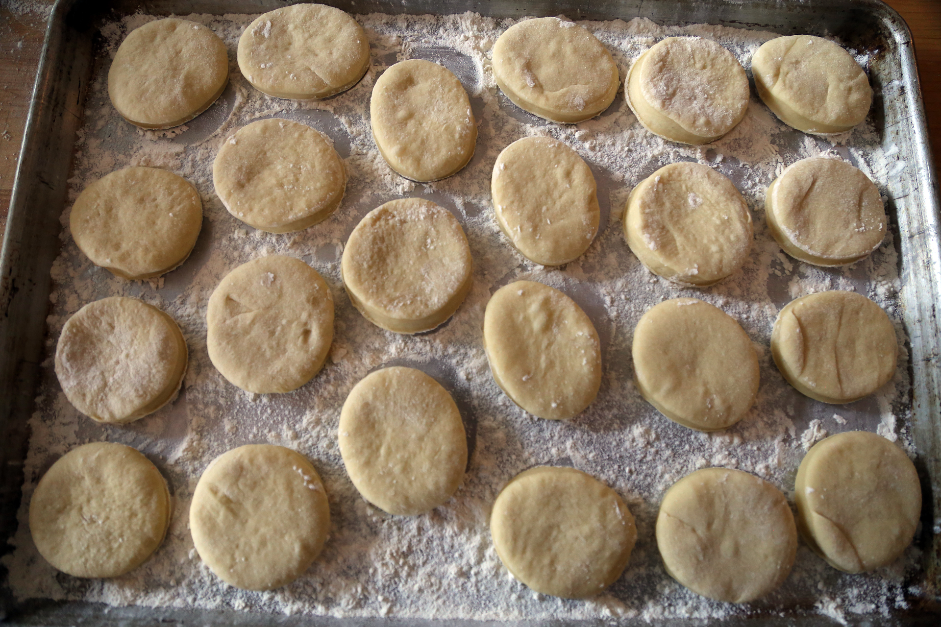 Place the dough rounds at least 1 inch apart on the baking sheet.