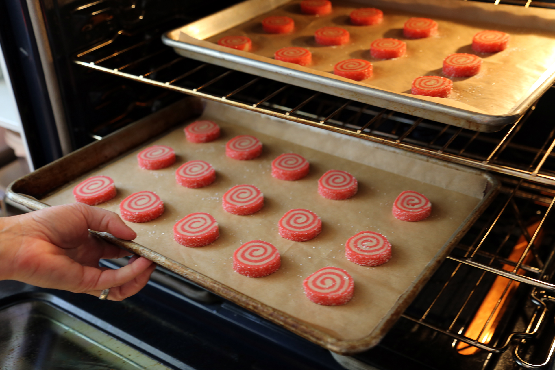 Place the slices on parchment-lined rimmed baking sheets, spacing them evenly. Bake until set but before they begin to brown, about 12 minutes.