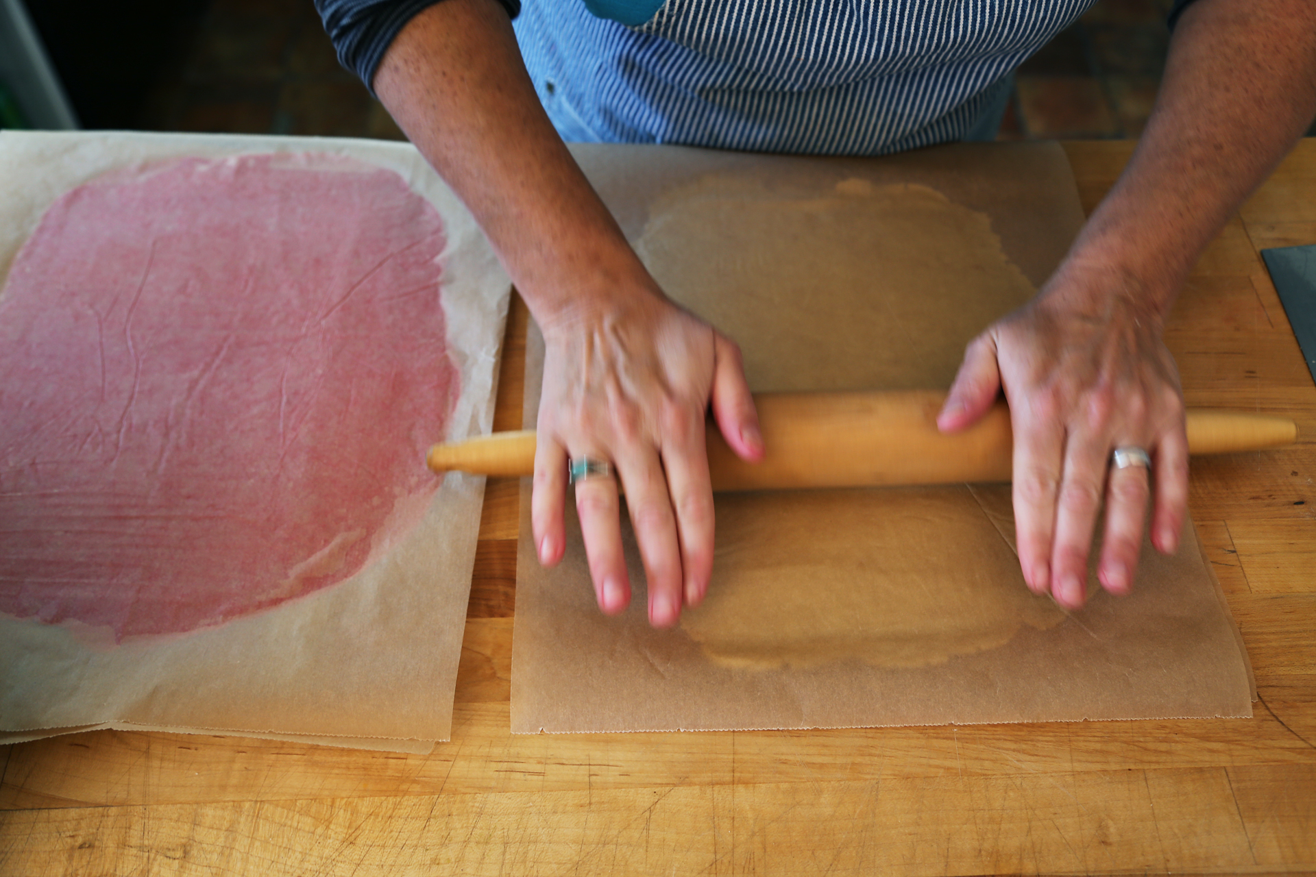 Top each with a second piece of parchment, then roll out each into a 10-by-12-inch rectangle.