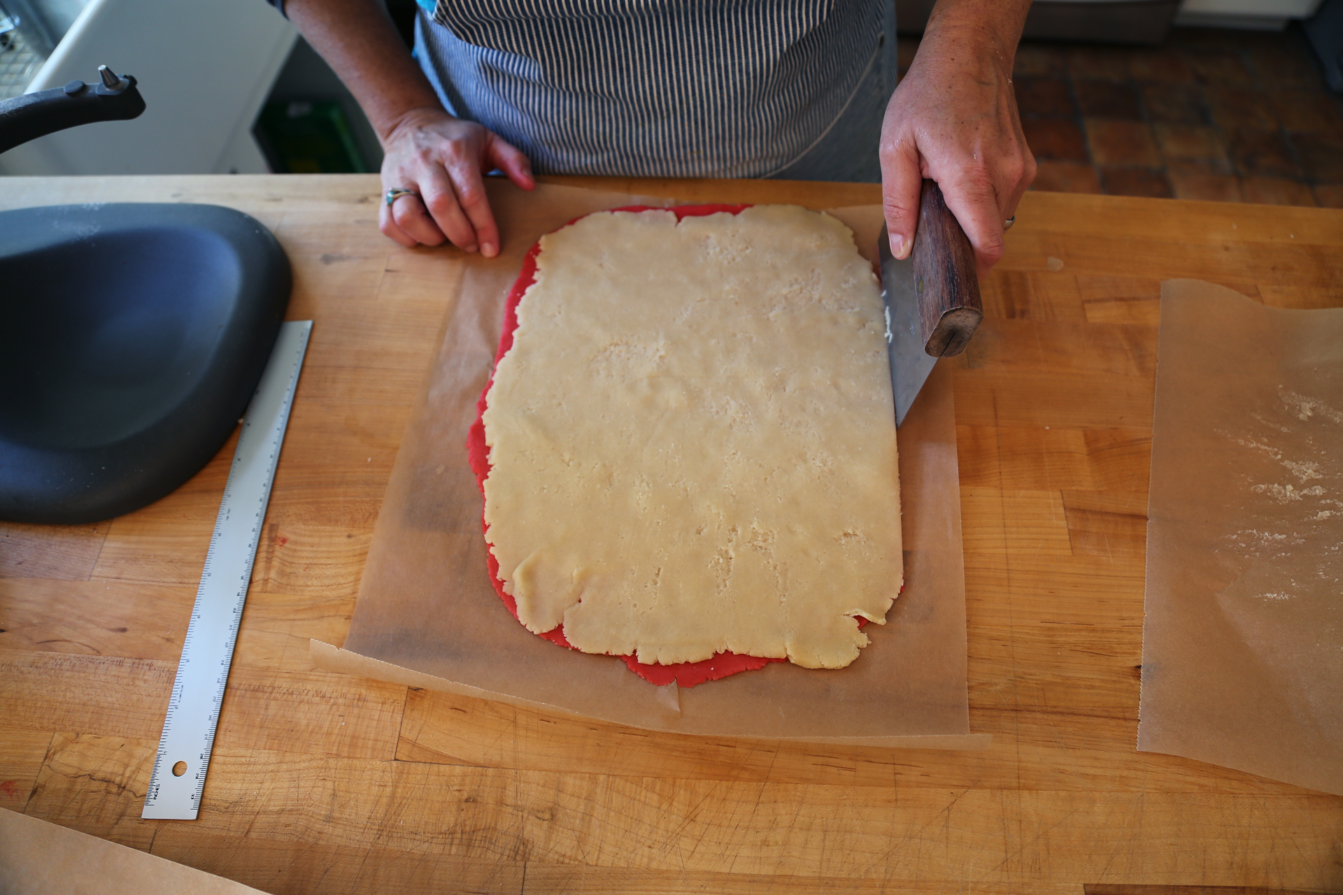 Trim the edges to even off the two rectangles of dough.