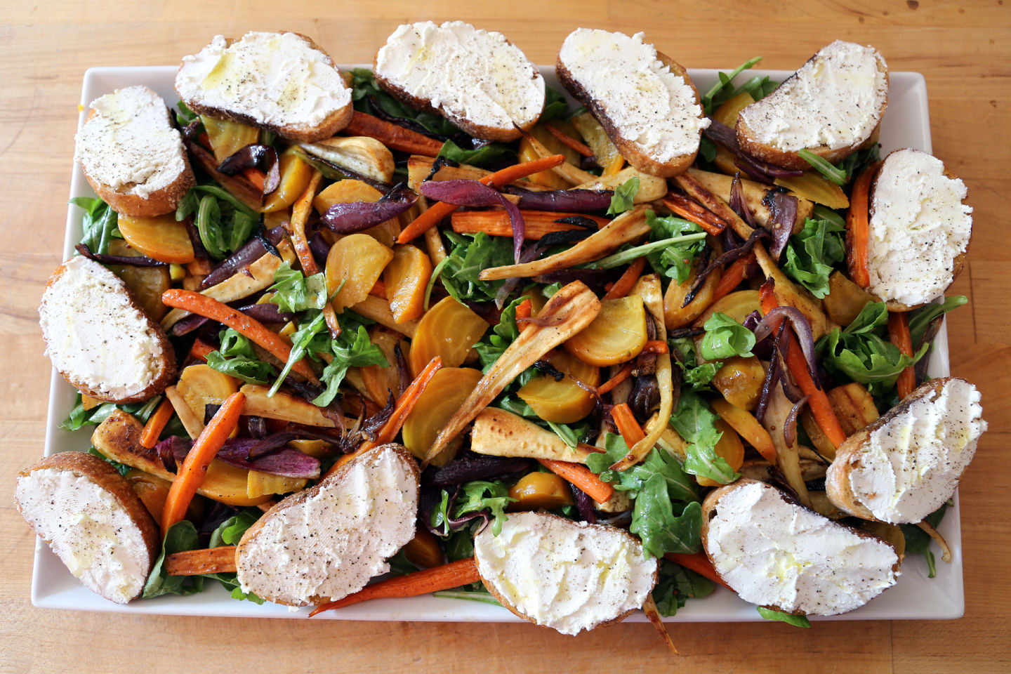 Autumn Root Vegetable Salad with Goat Cheese Crostini Wendy Goodfriend