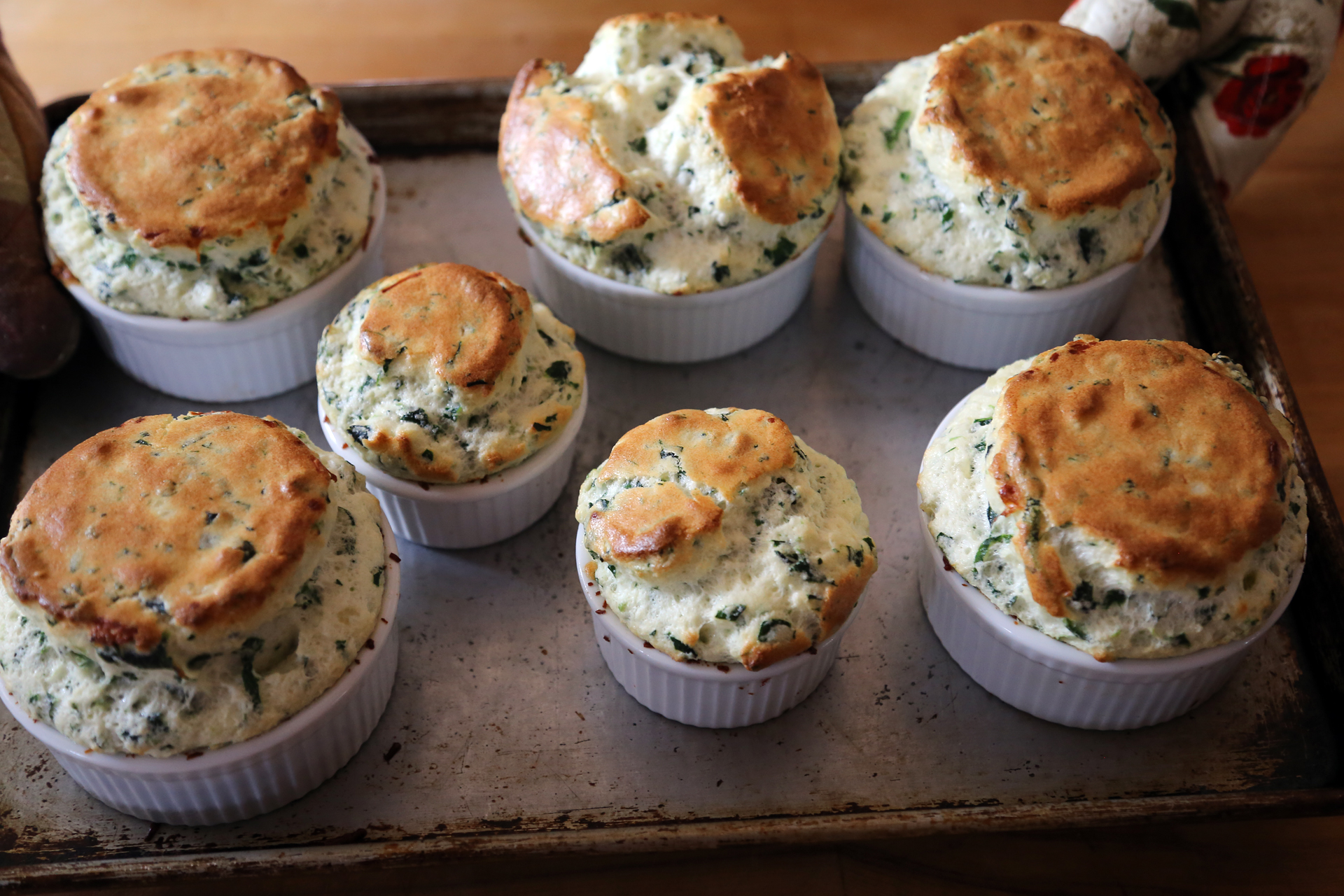 Spinach and Gruyere Soufflés right out of the oven.