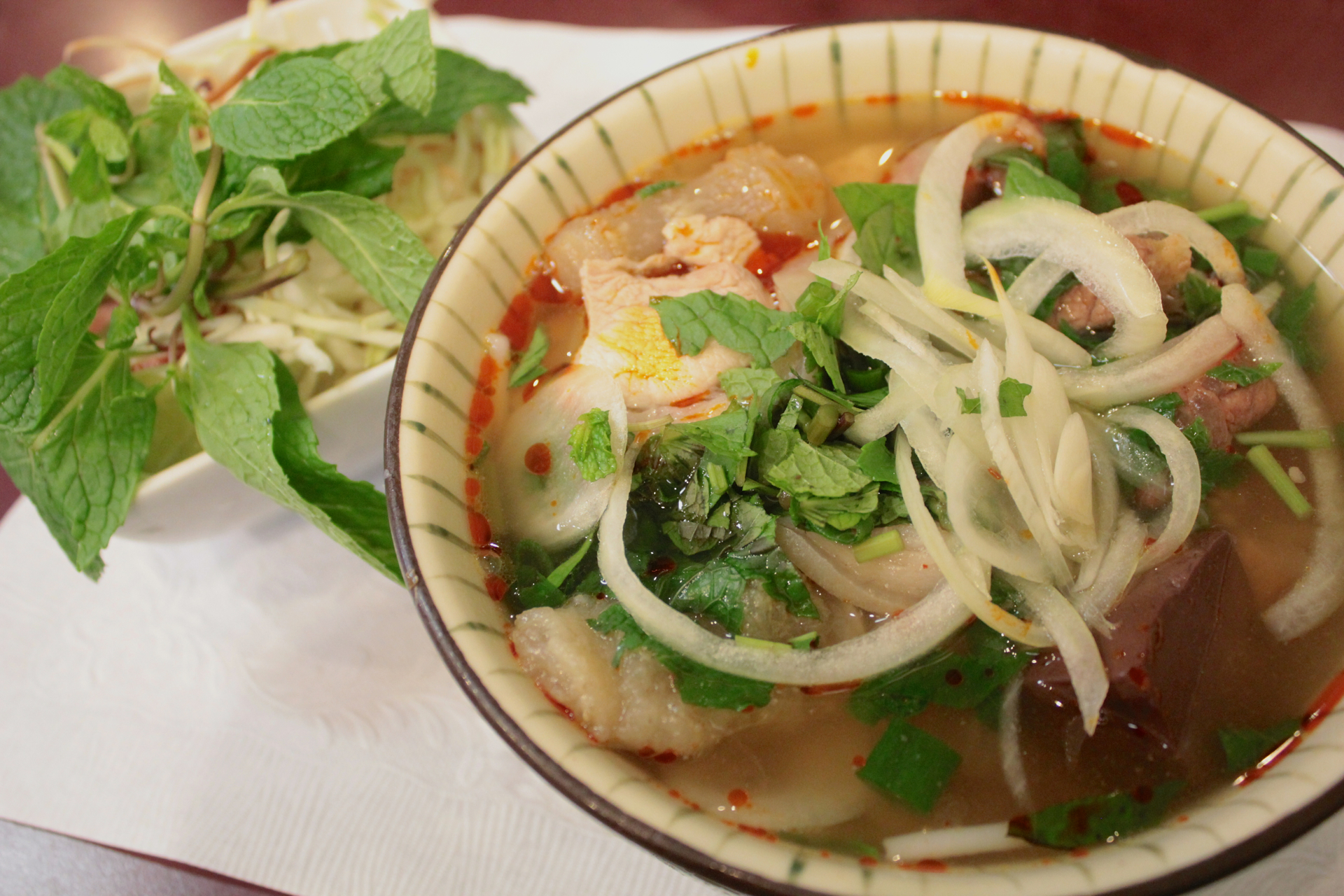 The spicy beef noodle pho with ox pizzle and pork blood.