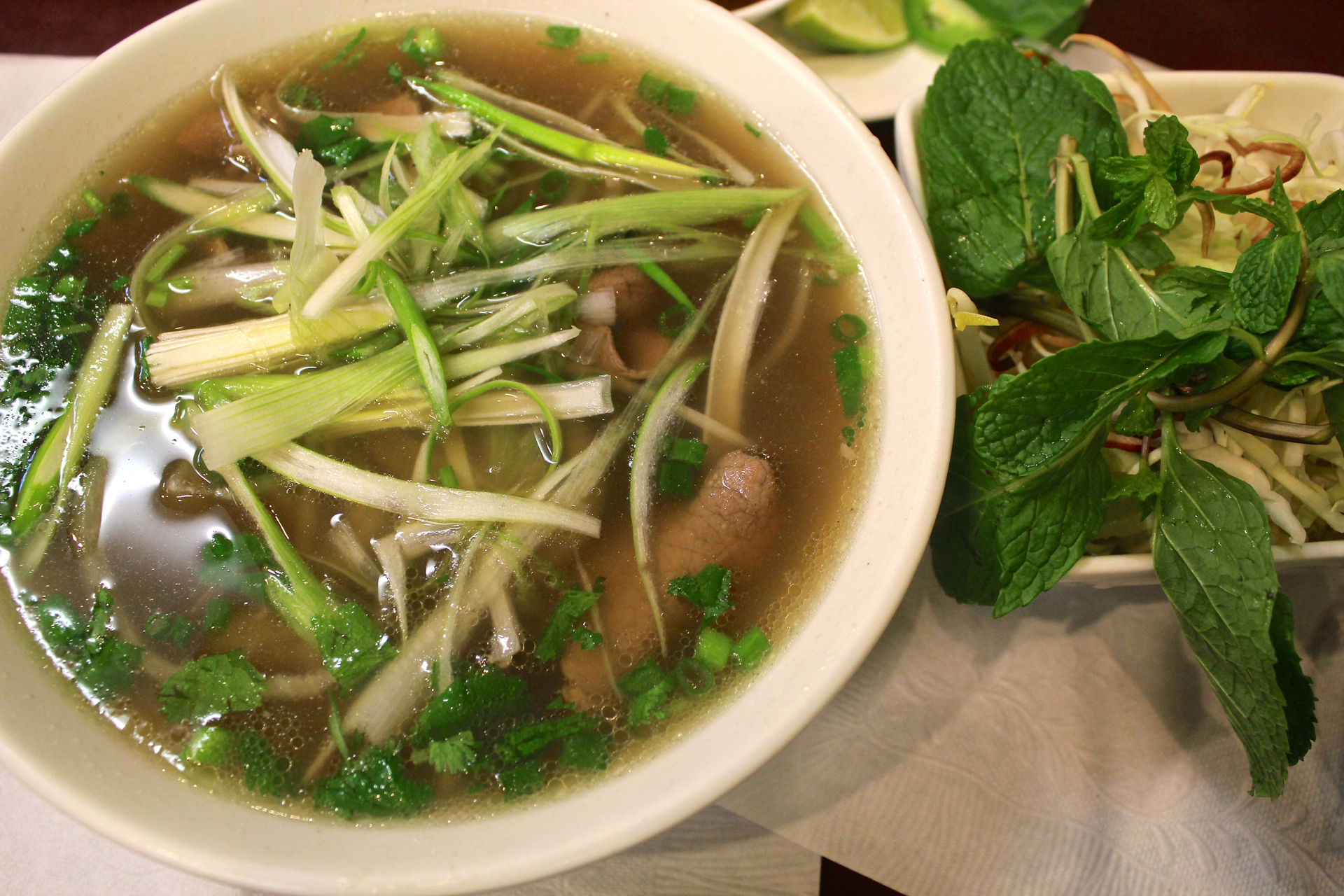 Pho with thin slices of filet mignon at Bun Bo Hue An Nam in East San Jose.