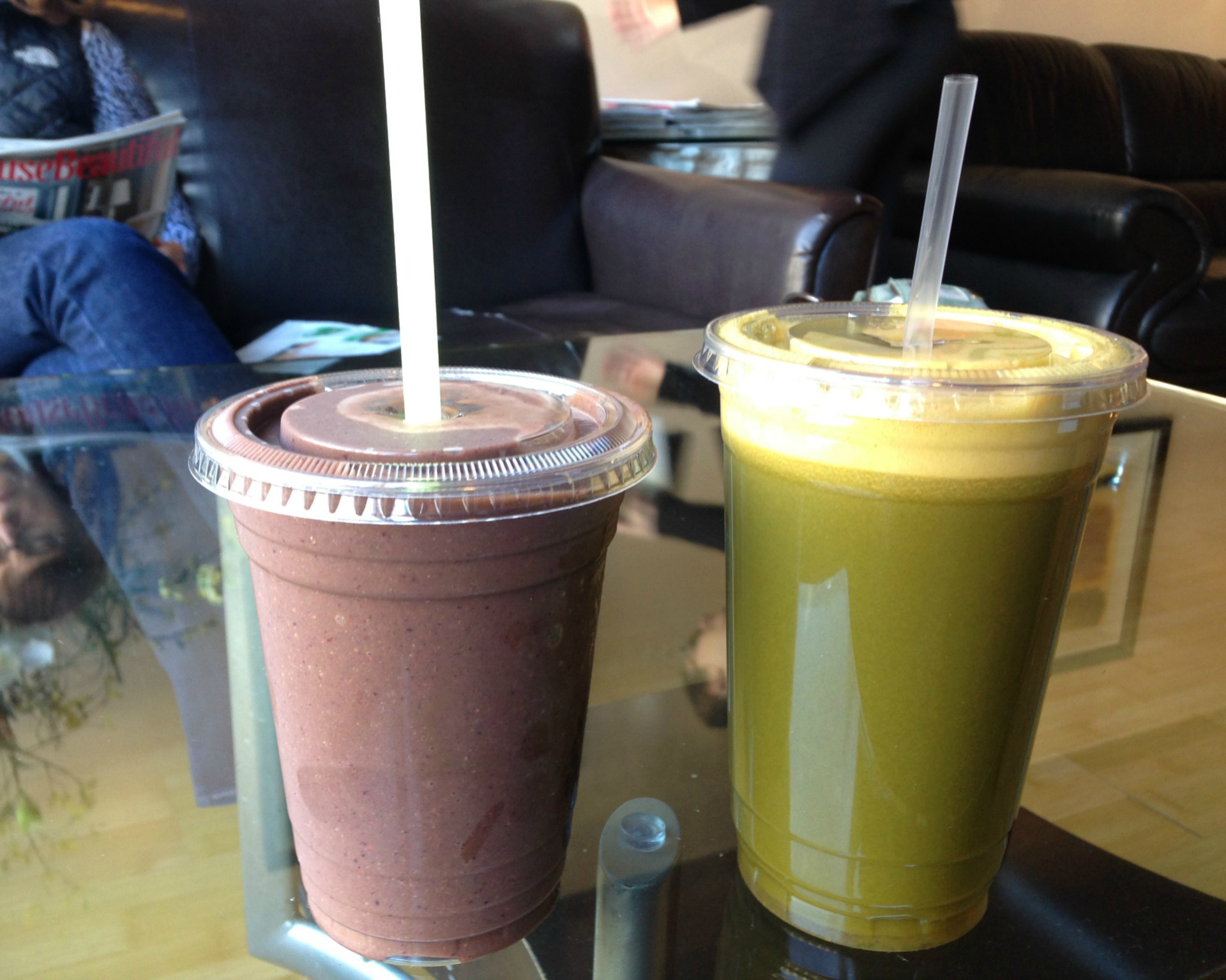 A Tropical Green smoothie and Green Power Juice from Oakland's Fresh and Best 2