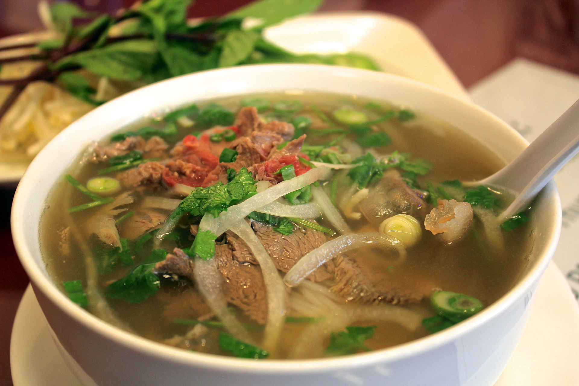 The Pho Gourmet with rare steak, lean brisket, flank, tendon and tripe.