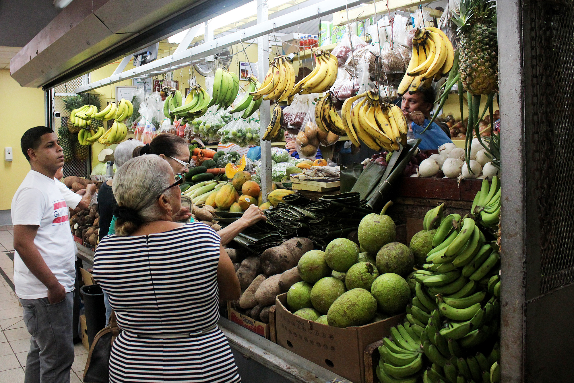 Shoppers at the market in Mayagüez, Puerto Rico, can choose from many more varieties of banana than what's available in the U.S.