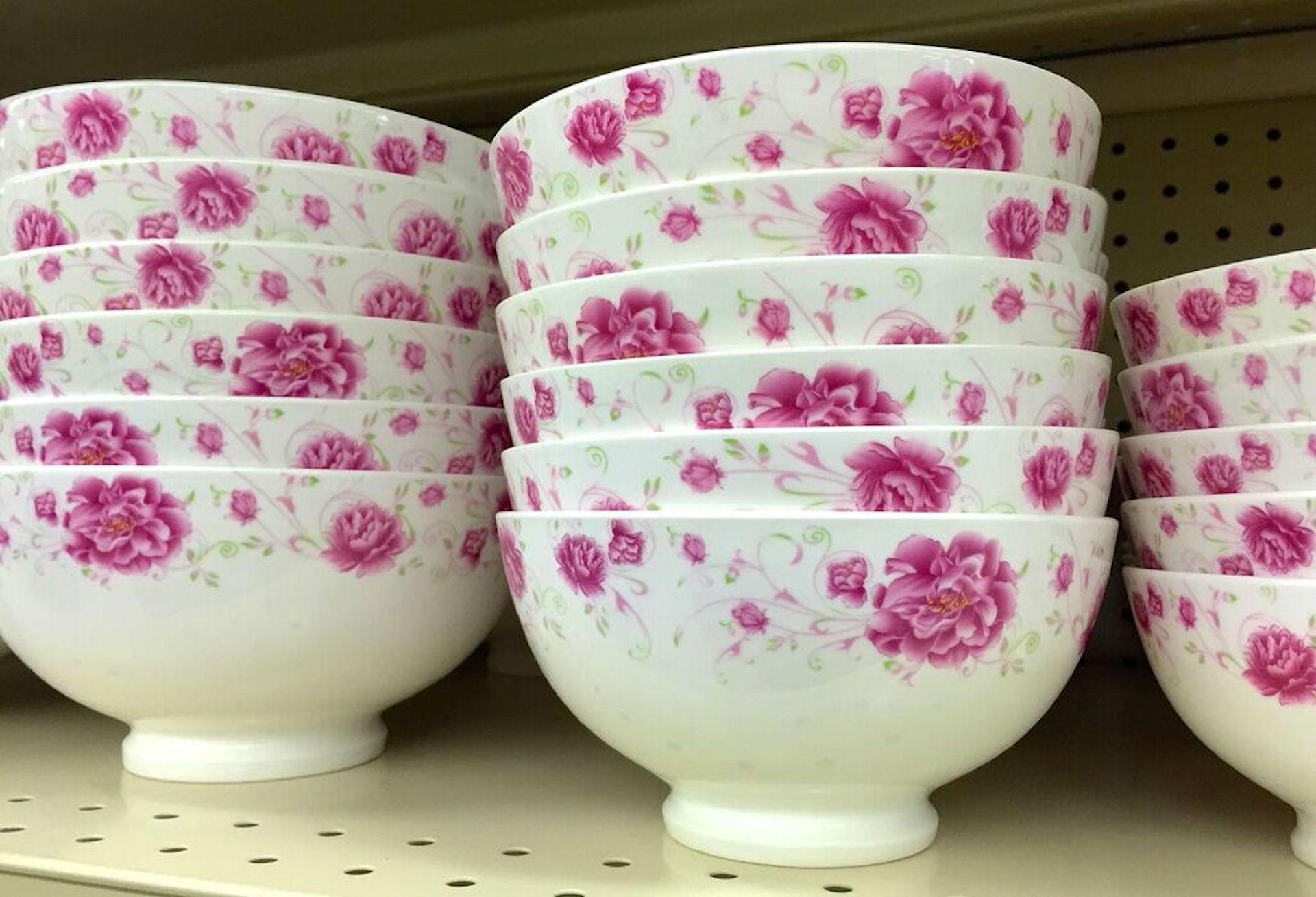 Pink floral bowls