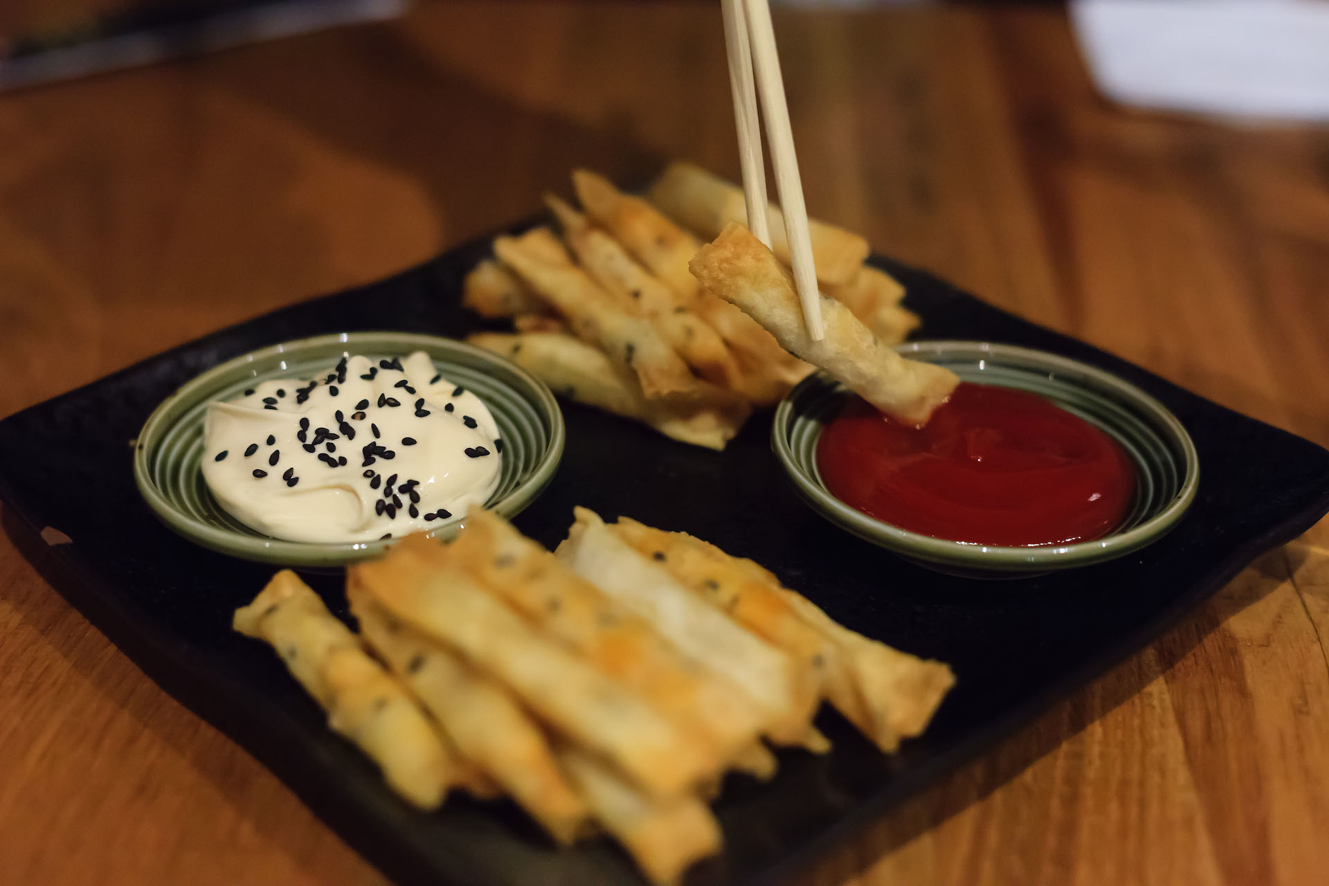 The Uchiwa fries are a popular appetizer.