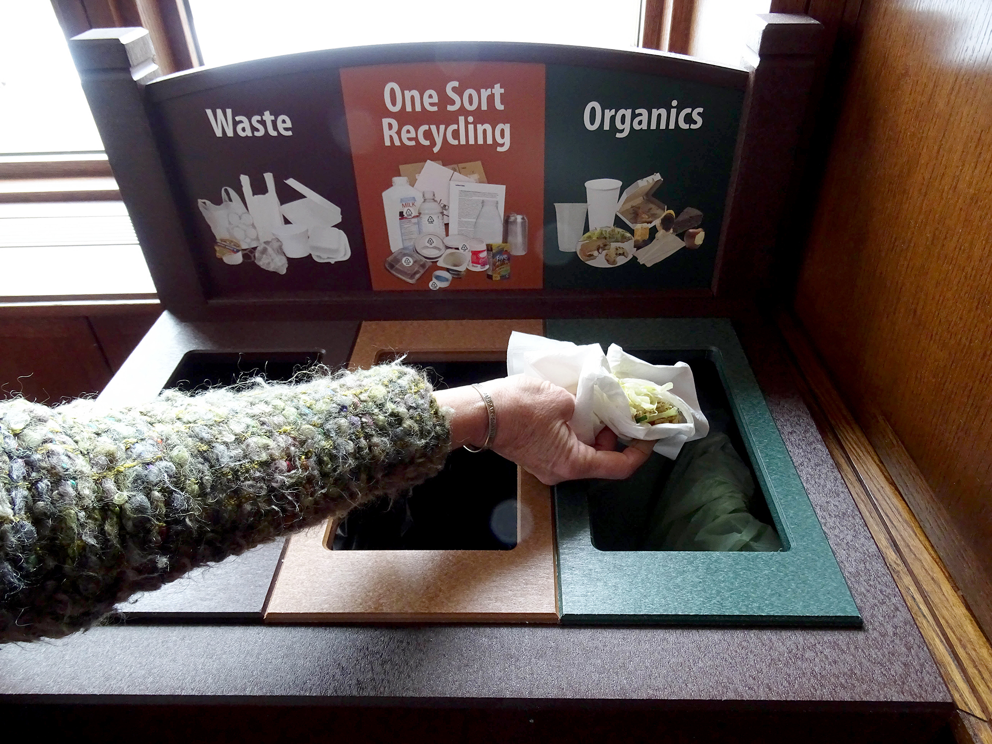 The compost/recycle system at Plymouth Congregational Church in Minneapolis, Minn. According to Creation Justice Ministries, it's just one example of the various projects churches have implemented to reduce waste.