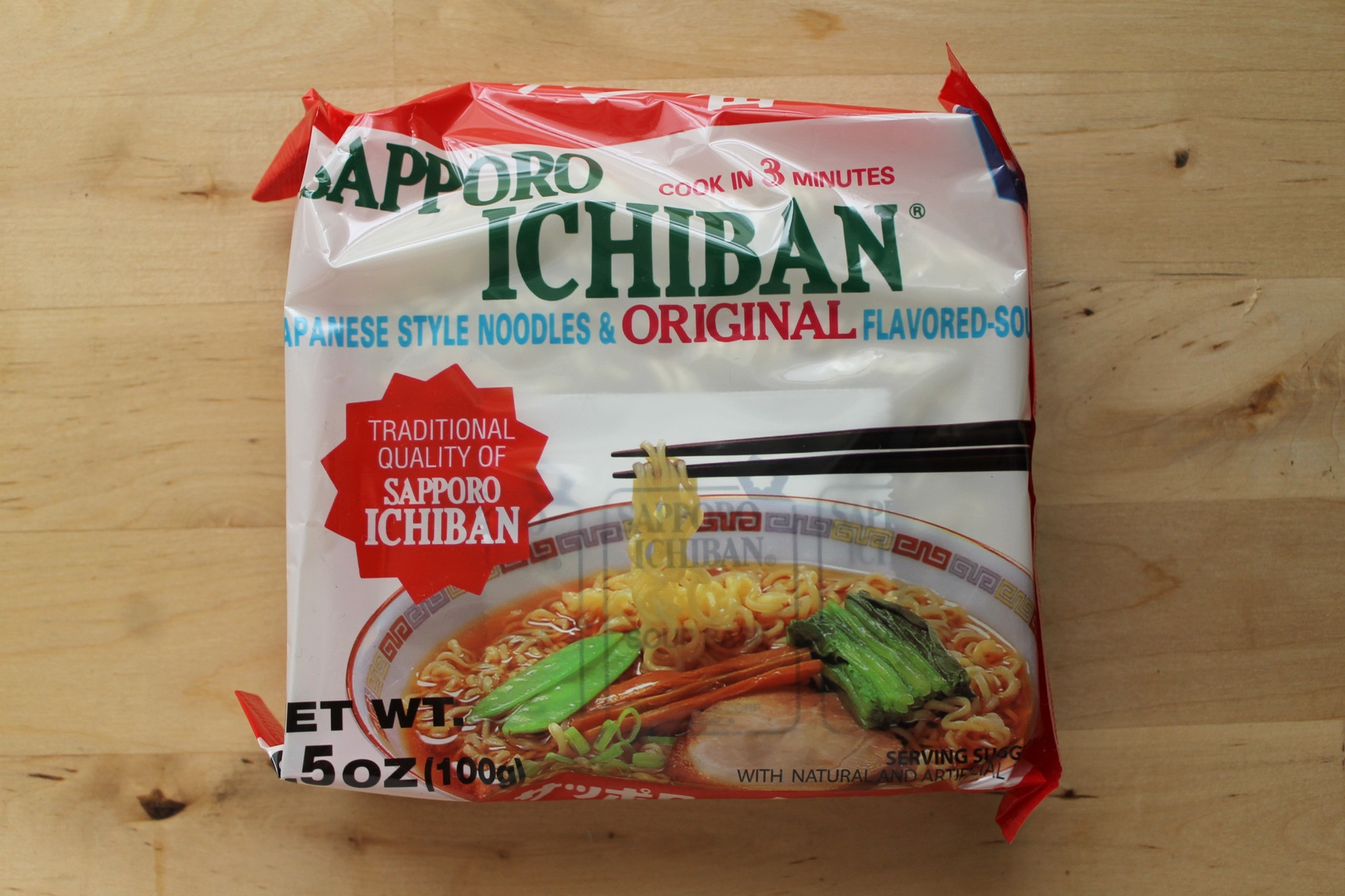 Sapporo Ichiban Japanese-Style Noodles & Original Flavored Soup.