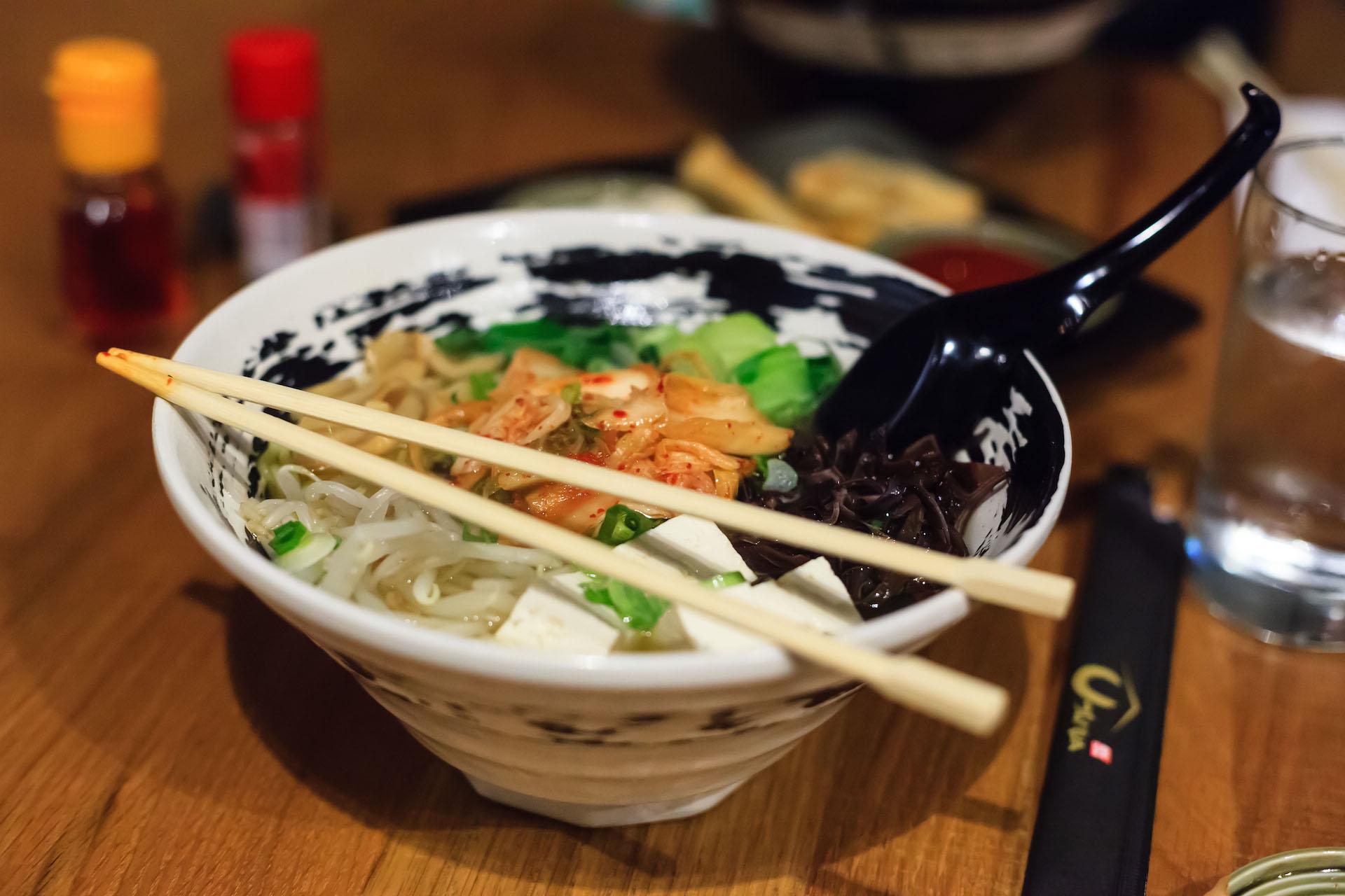 The vegan shio ramen with kimchi.
