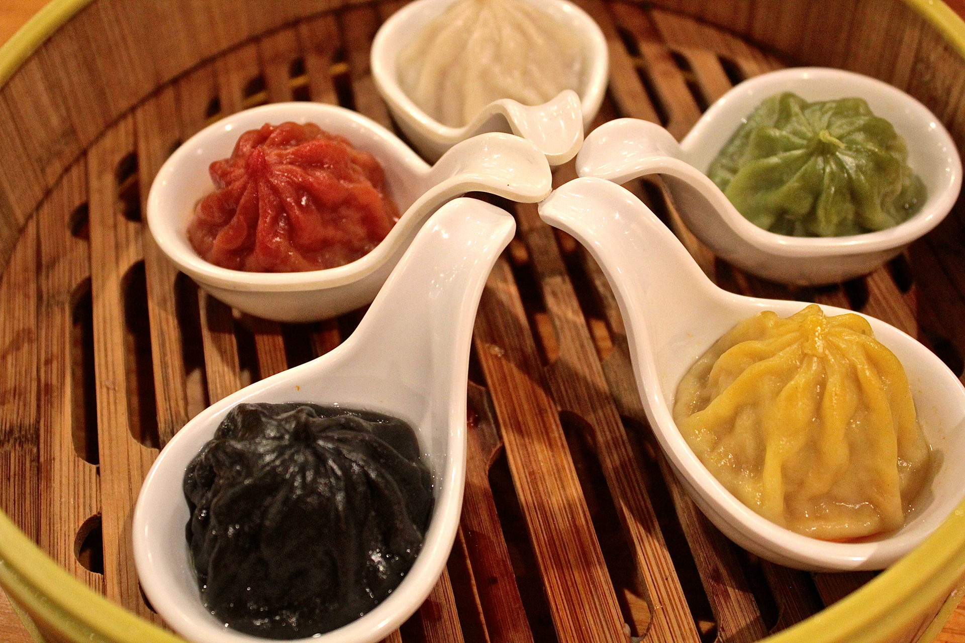The Shanghai dumpling sampler at Koi Palace.