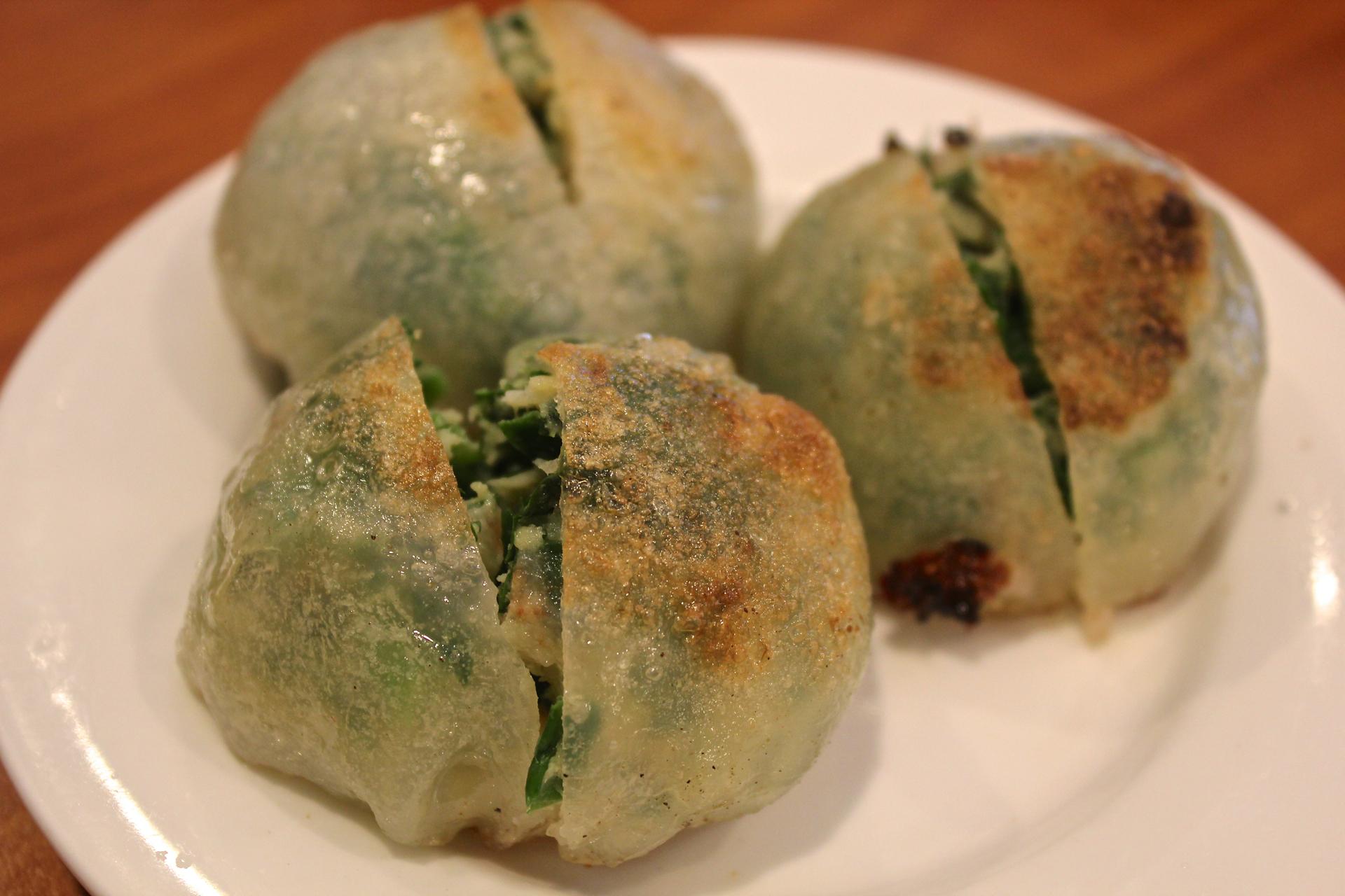 Pan-fried chive and shrimp dumplings at Ocean Delight.