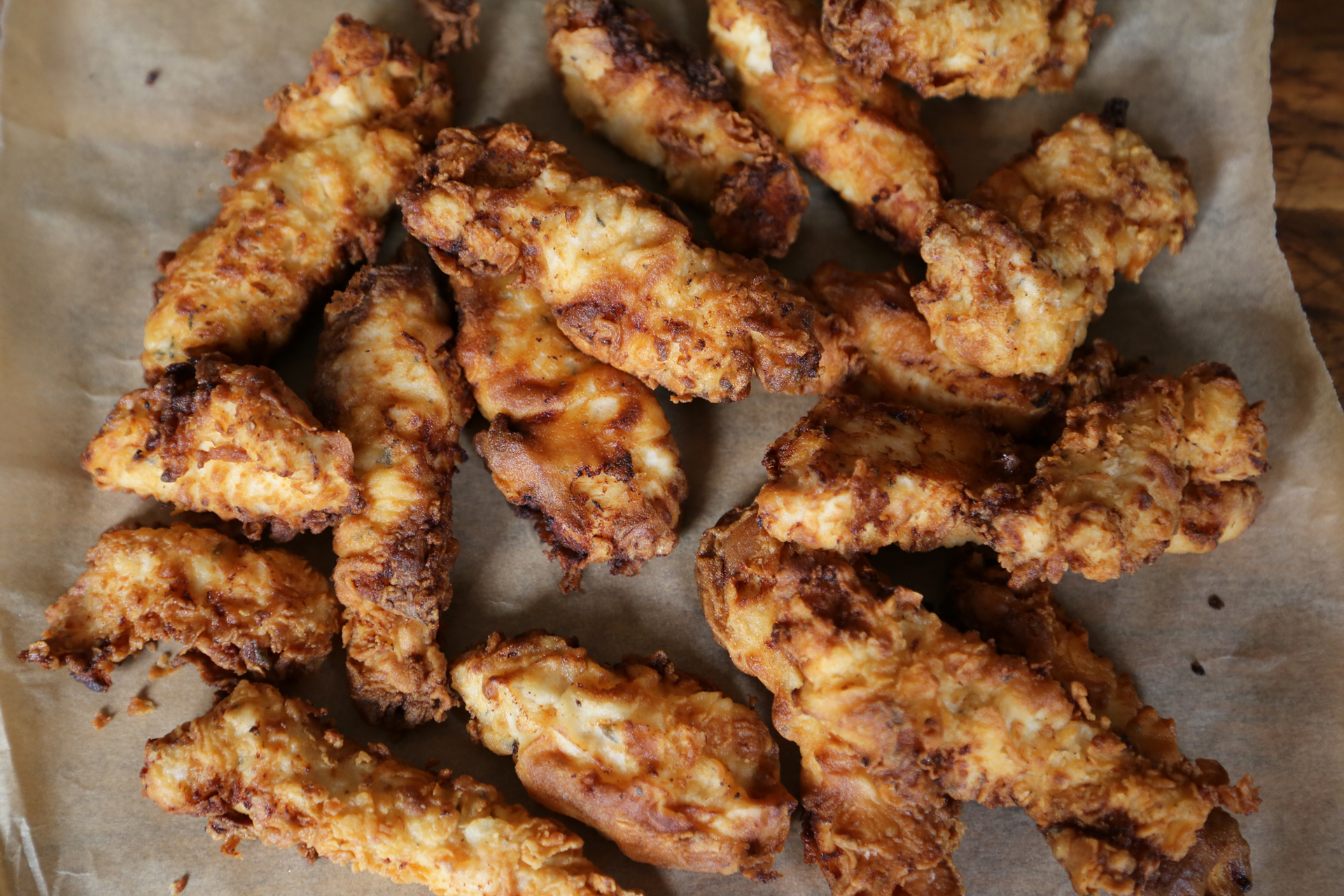 Buttermilk Chicken Fried Chicken Fingers ready to eat!