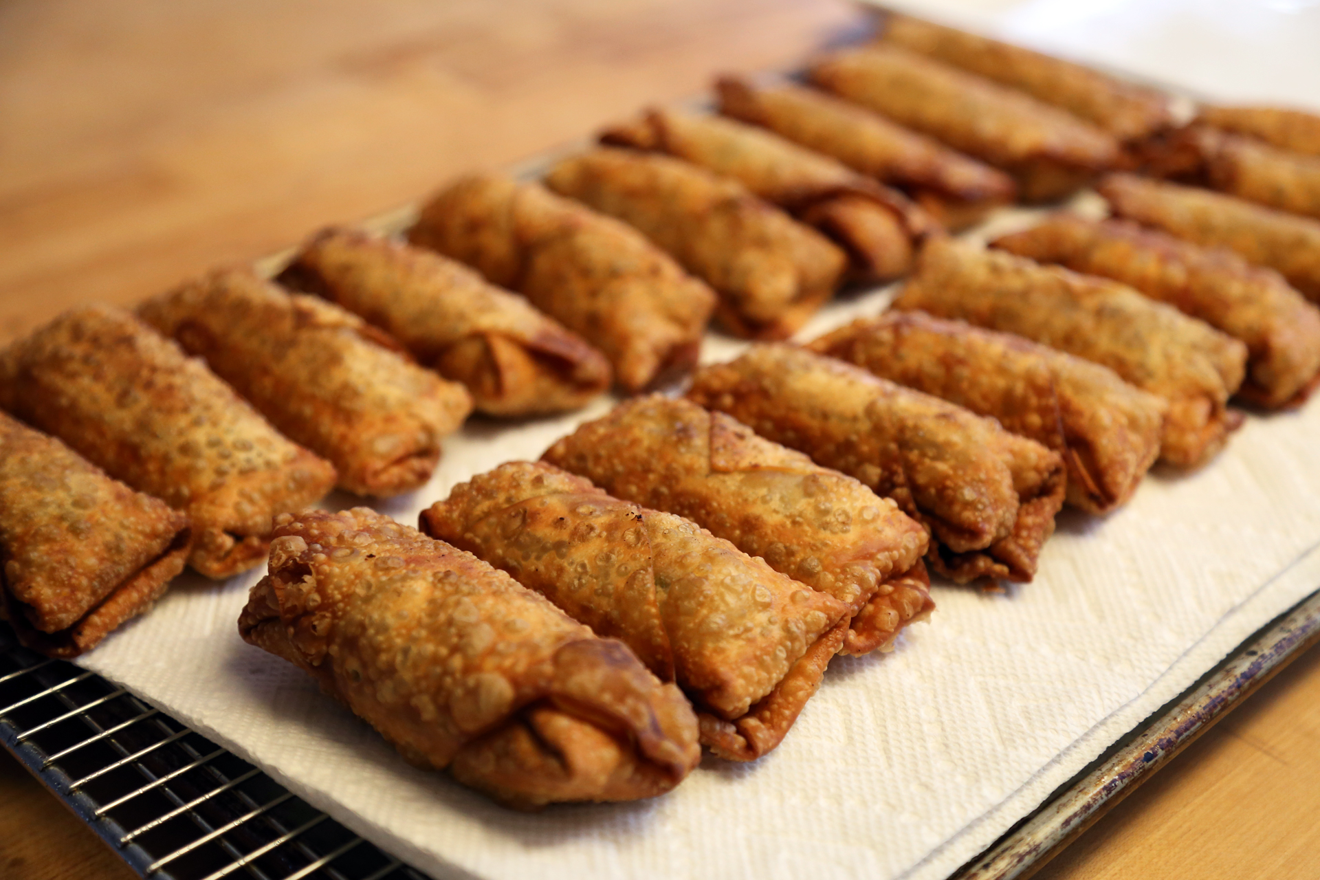 Line the rack with paper towels and keep them in the oven to stay warm while you finish frying the remaining eggrolls.