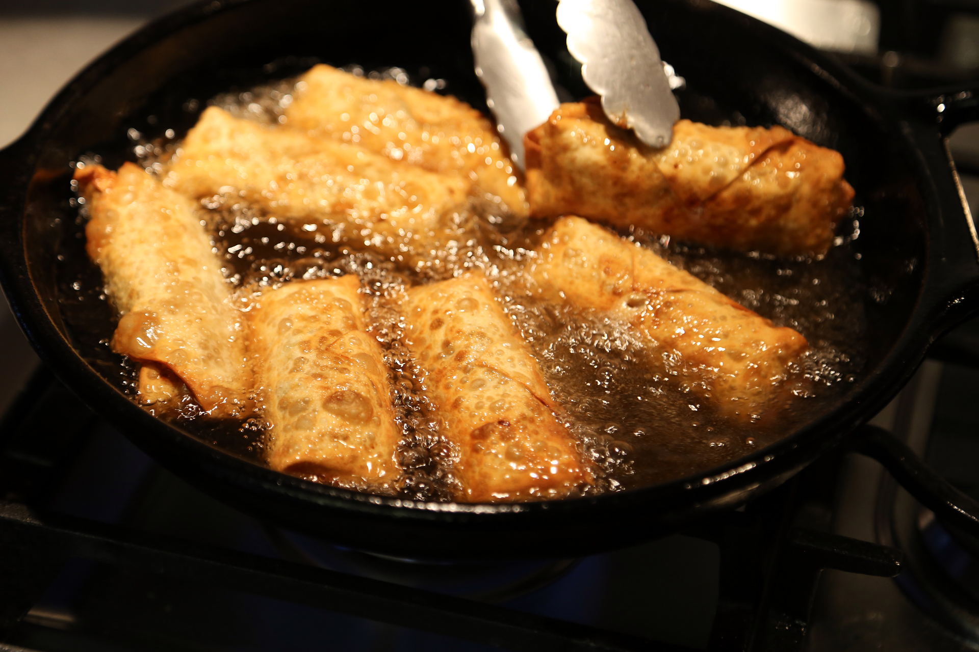 Turn eggrolls occasionally until they are crisp and golden brown on all sides, about 5 minutes.
